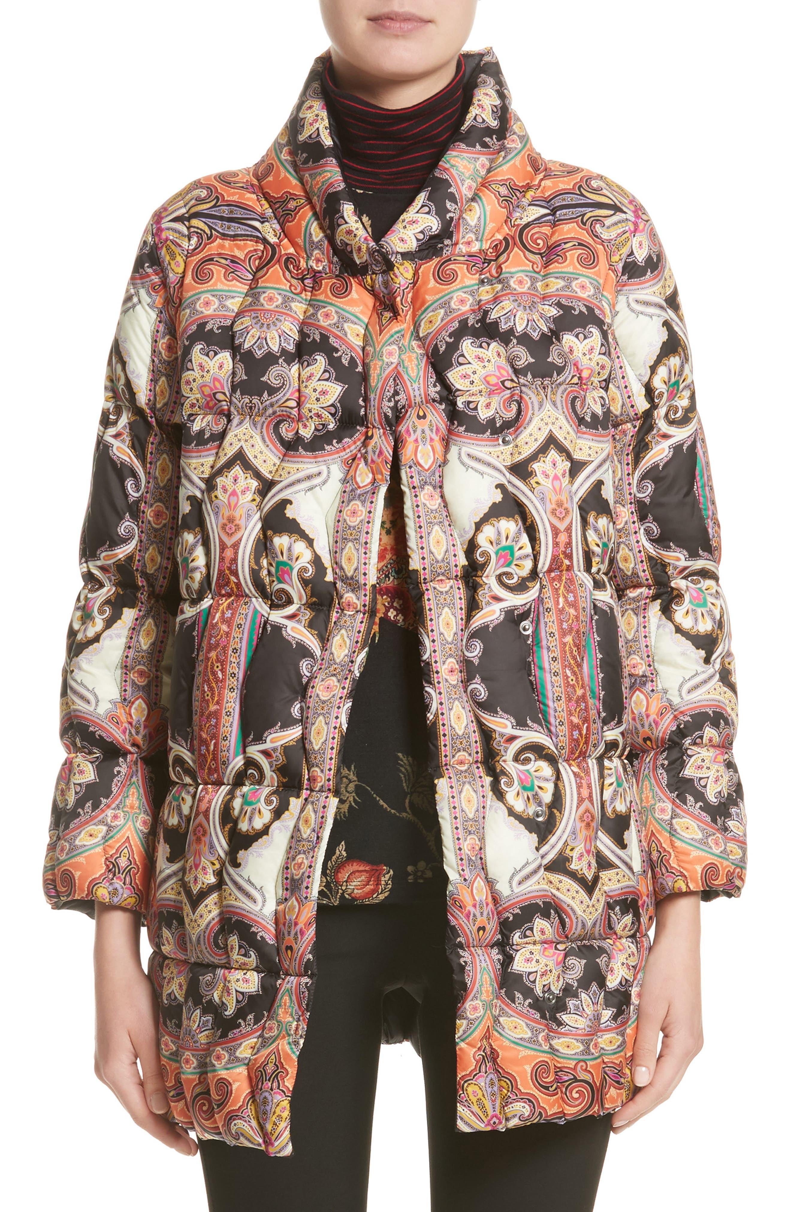 Etro Suzani Paisley Print Puffer Jacket