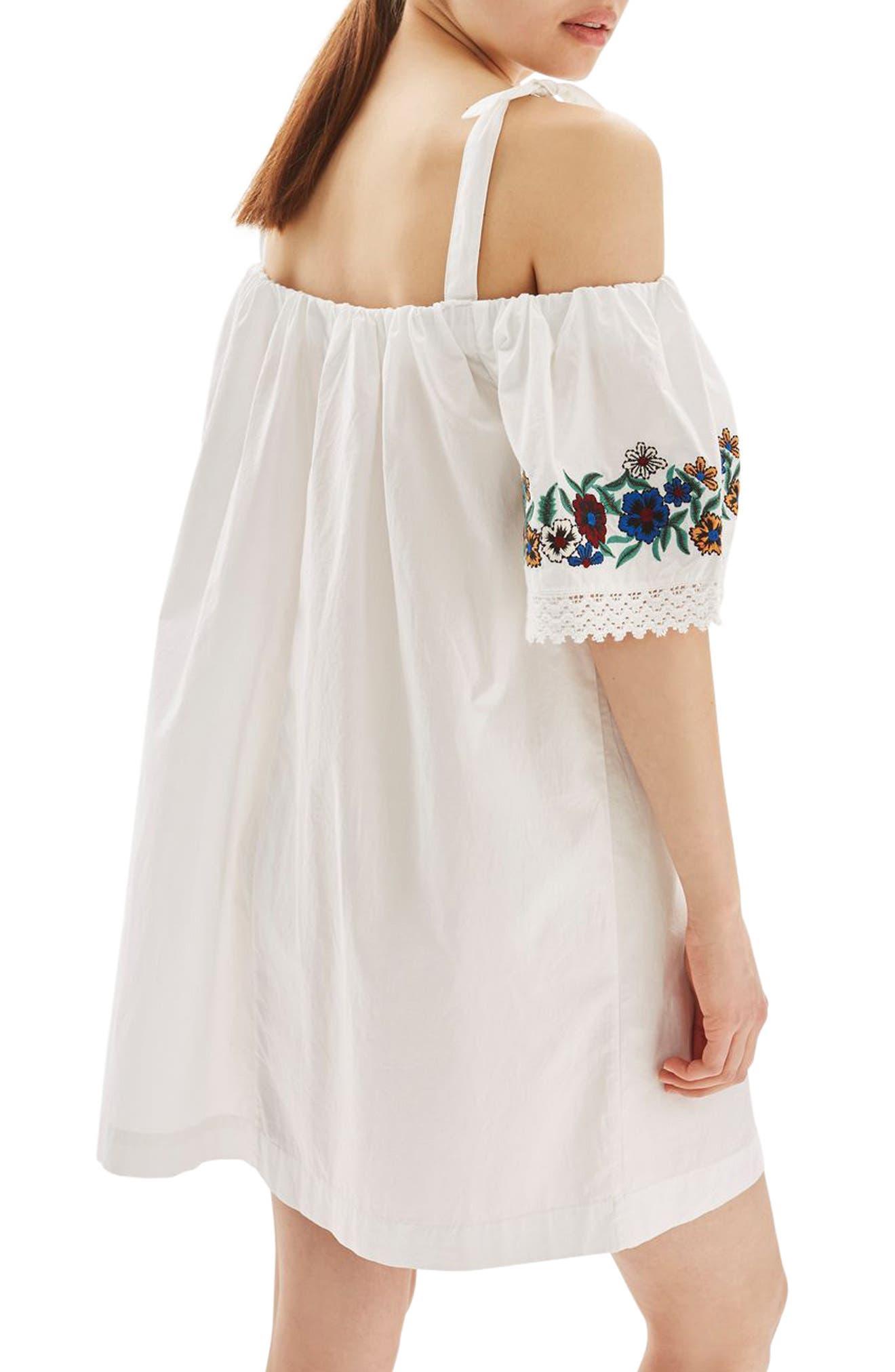Alternate Image 2  - Topshop Bardot Embroidered Dress