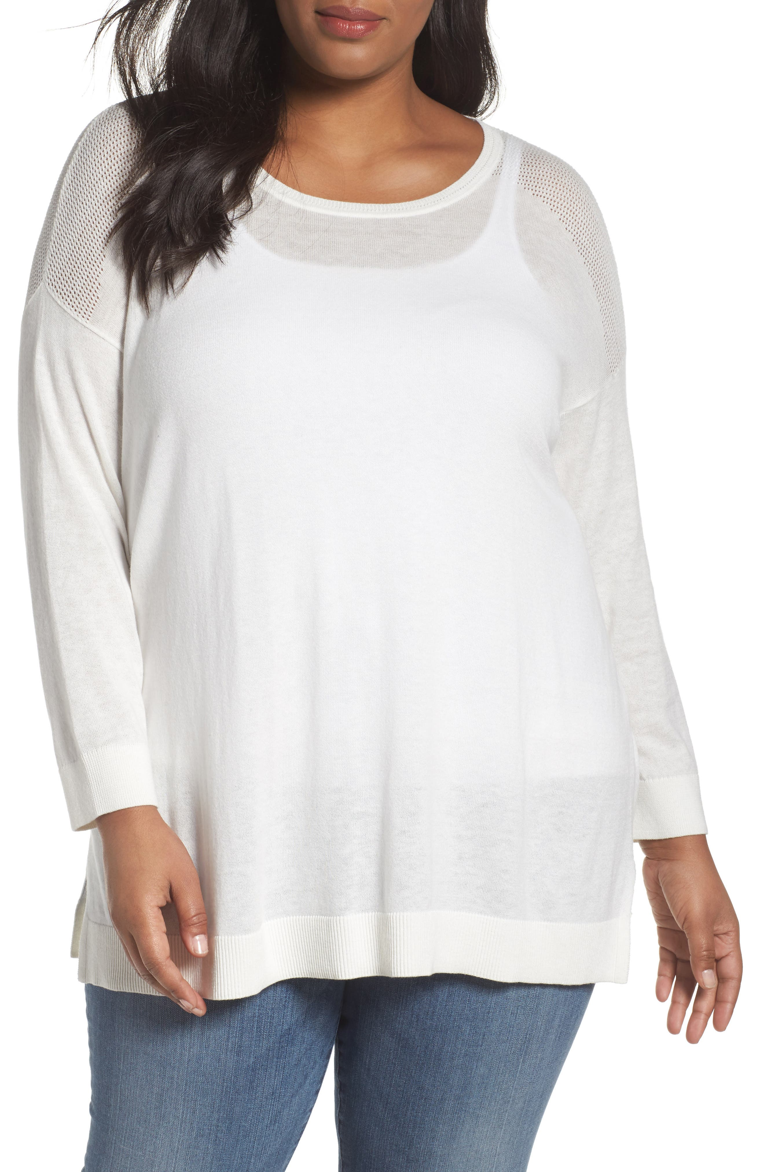Sejour Mesh Yoke Cotton Blend Sweater (Plus Size)
