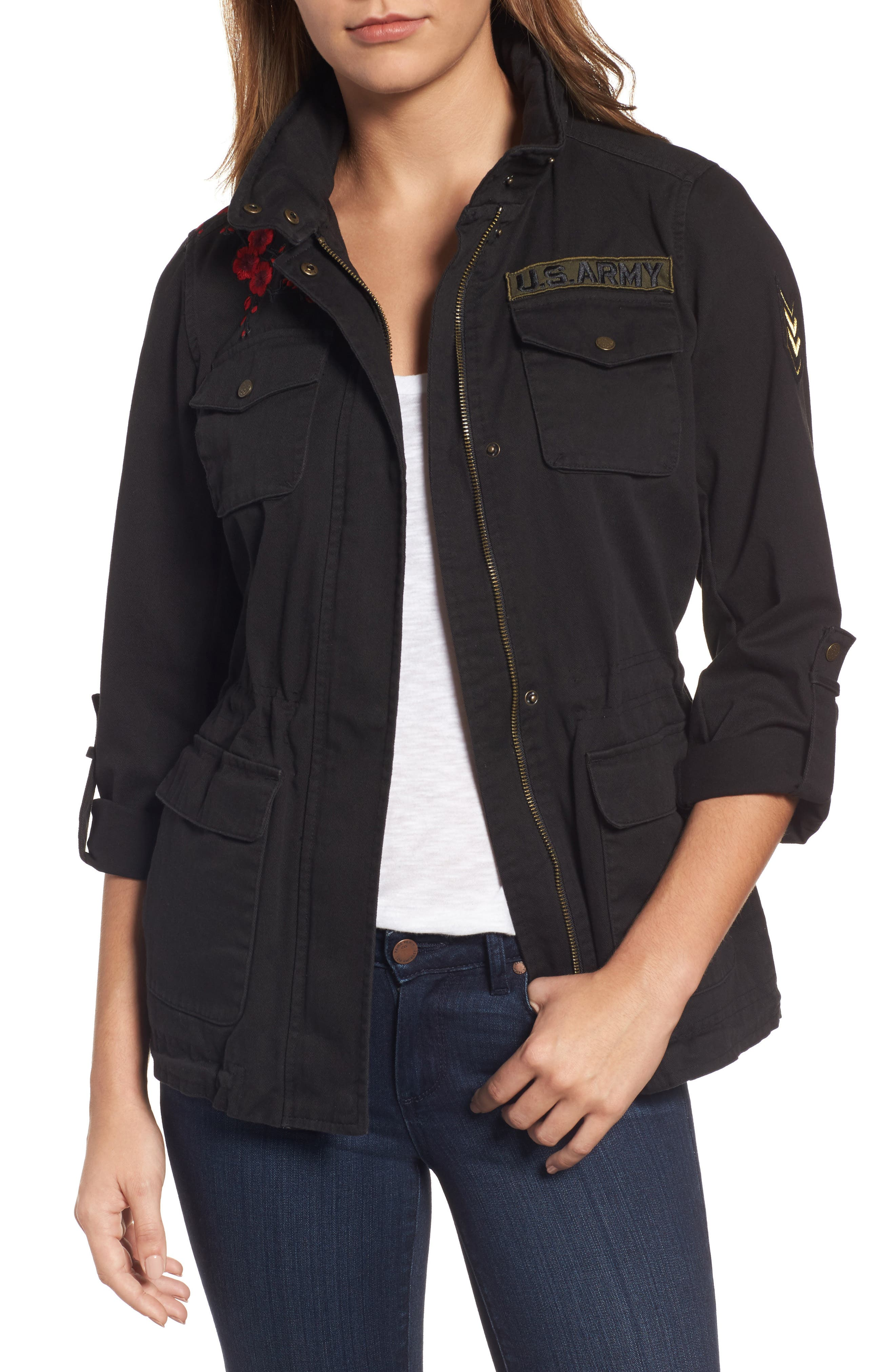 Main Image - Vince Camuto Embroidered Cotton Twill Utility Jacket