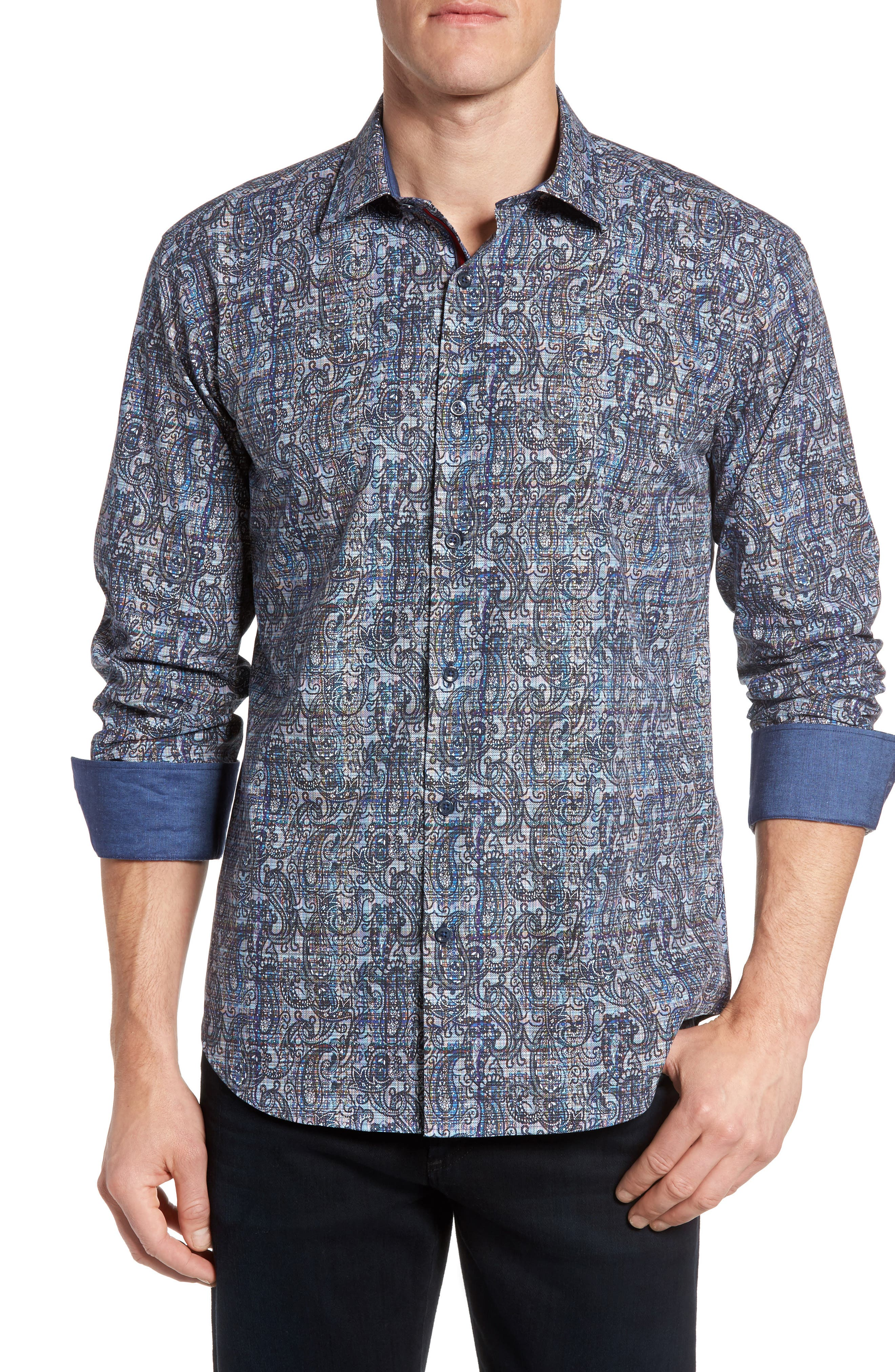 Bugatchi Shaped Fit Paisley Plaid Sport Shirt