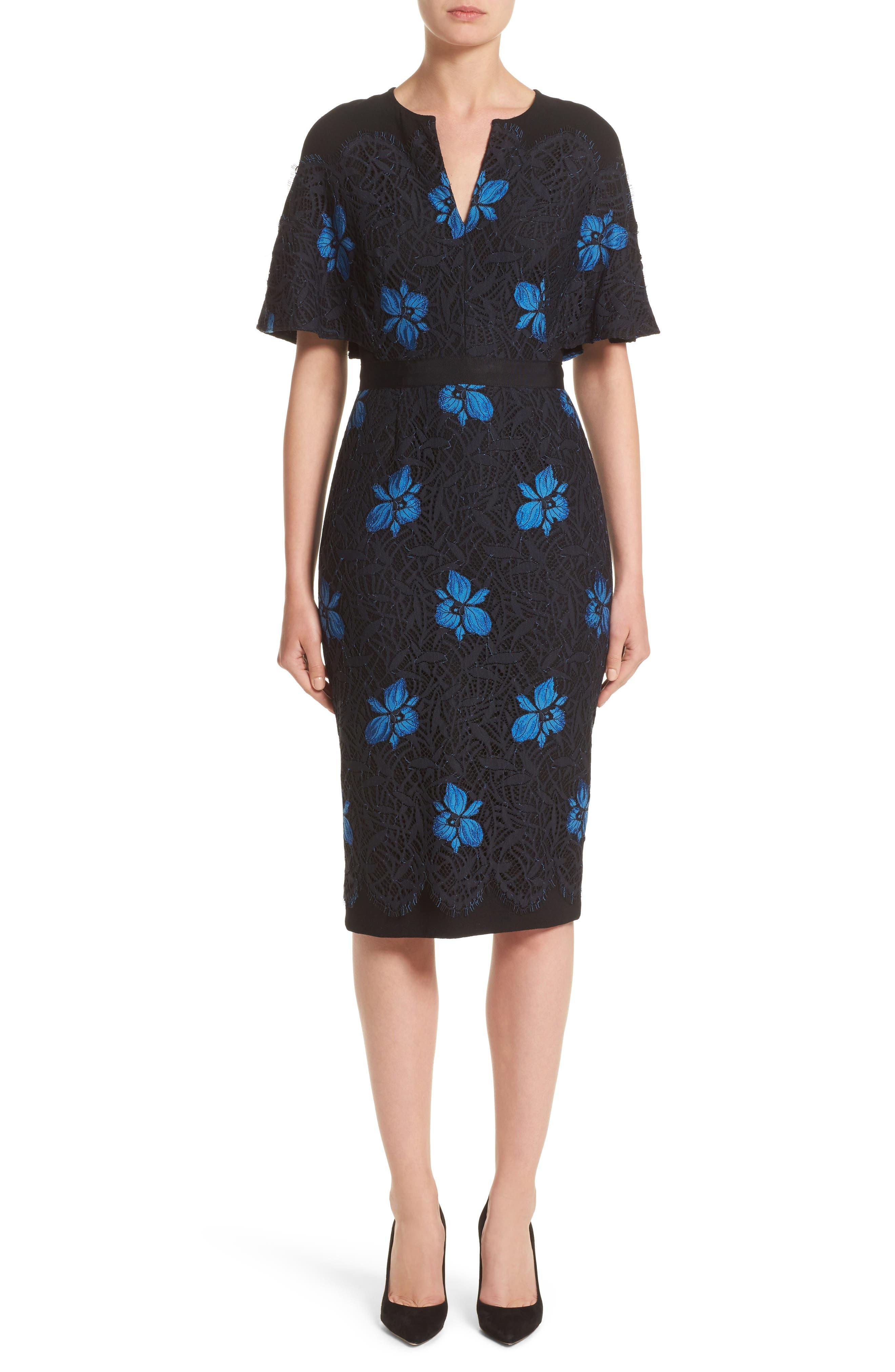Lela Rose Flutter Sleeve Floral Lace Dress