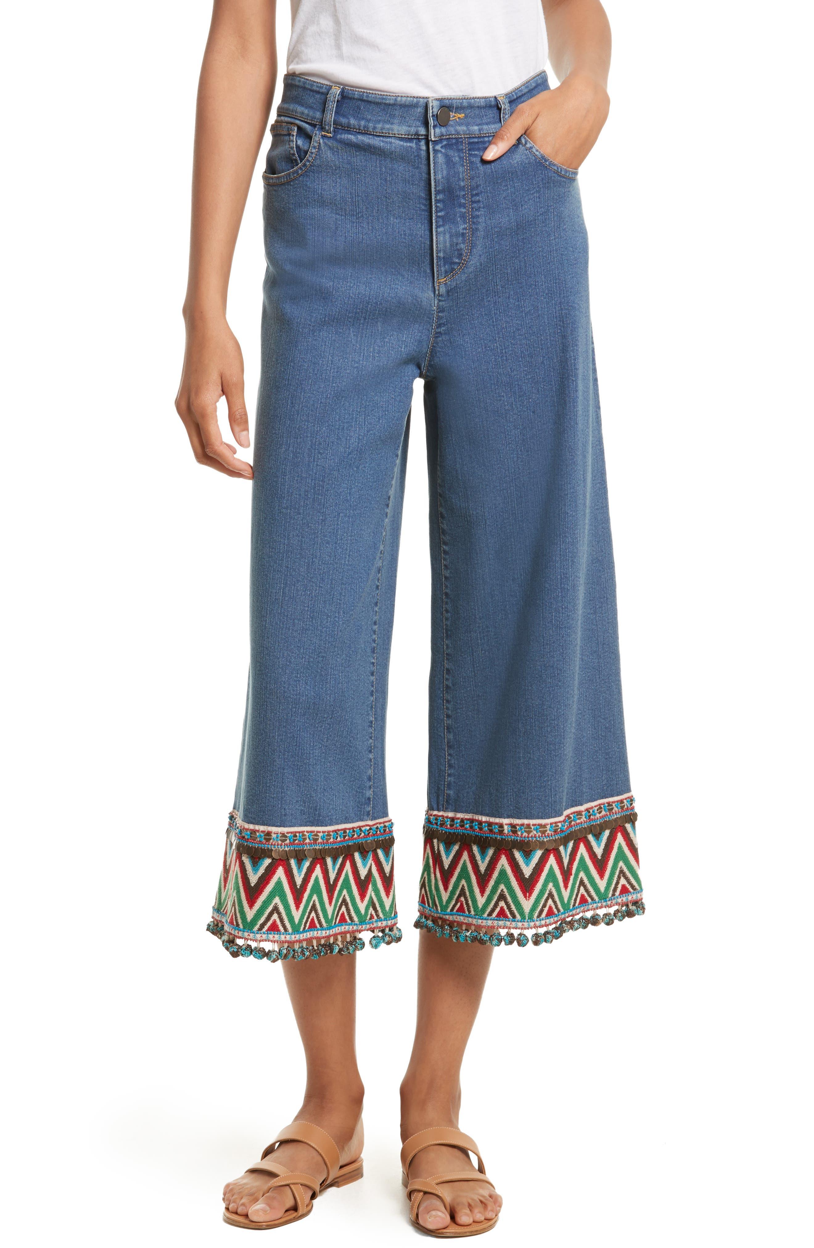 Main Image - Alice + Olivia Beta Embellished Wide Leg Crop Jeans