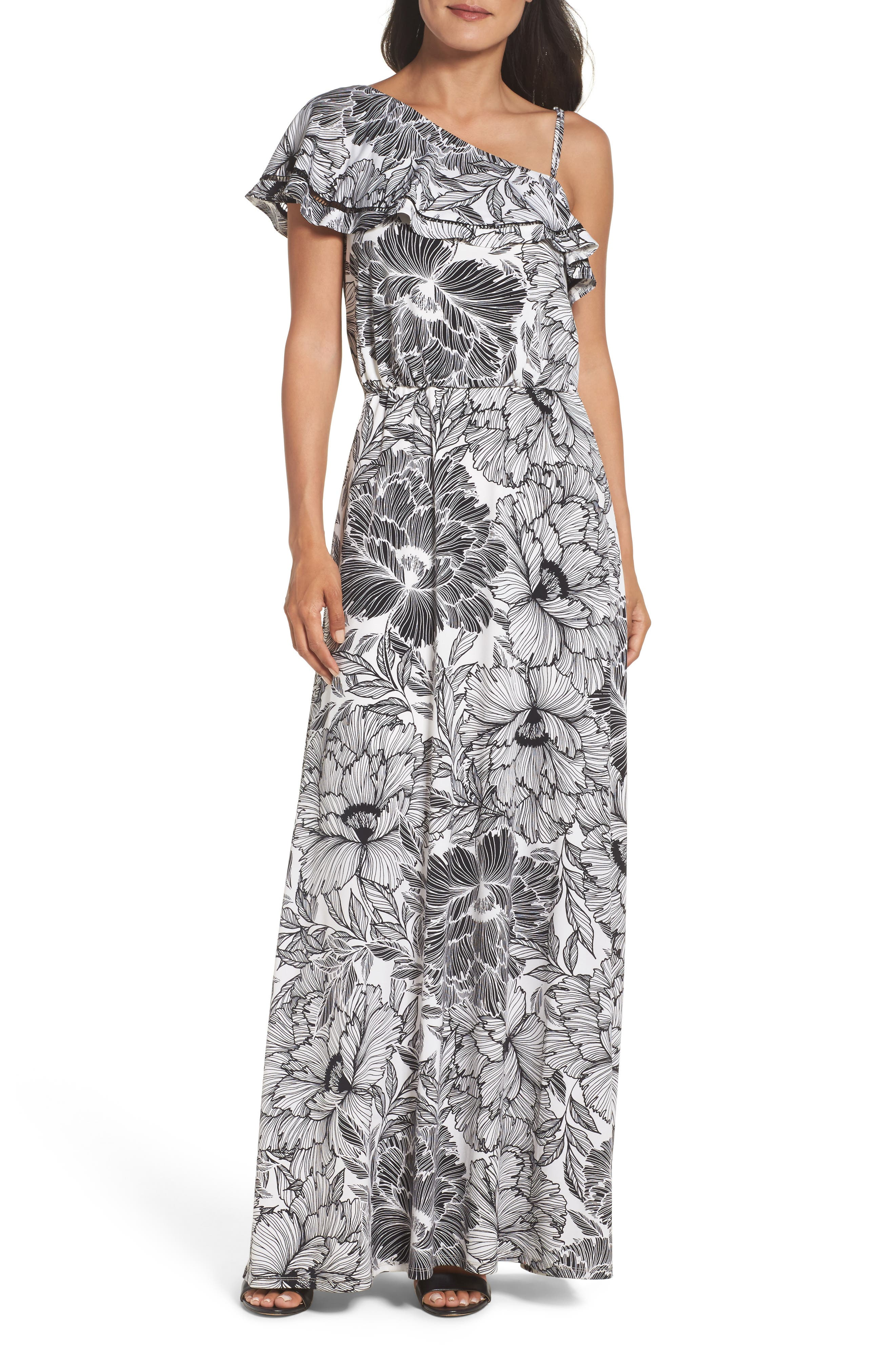 Maggy London Print Maxi Dress