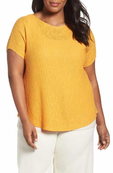 Eileen Fisher Organic Linen   Cotton Rib Sweater (Plus Size)