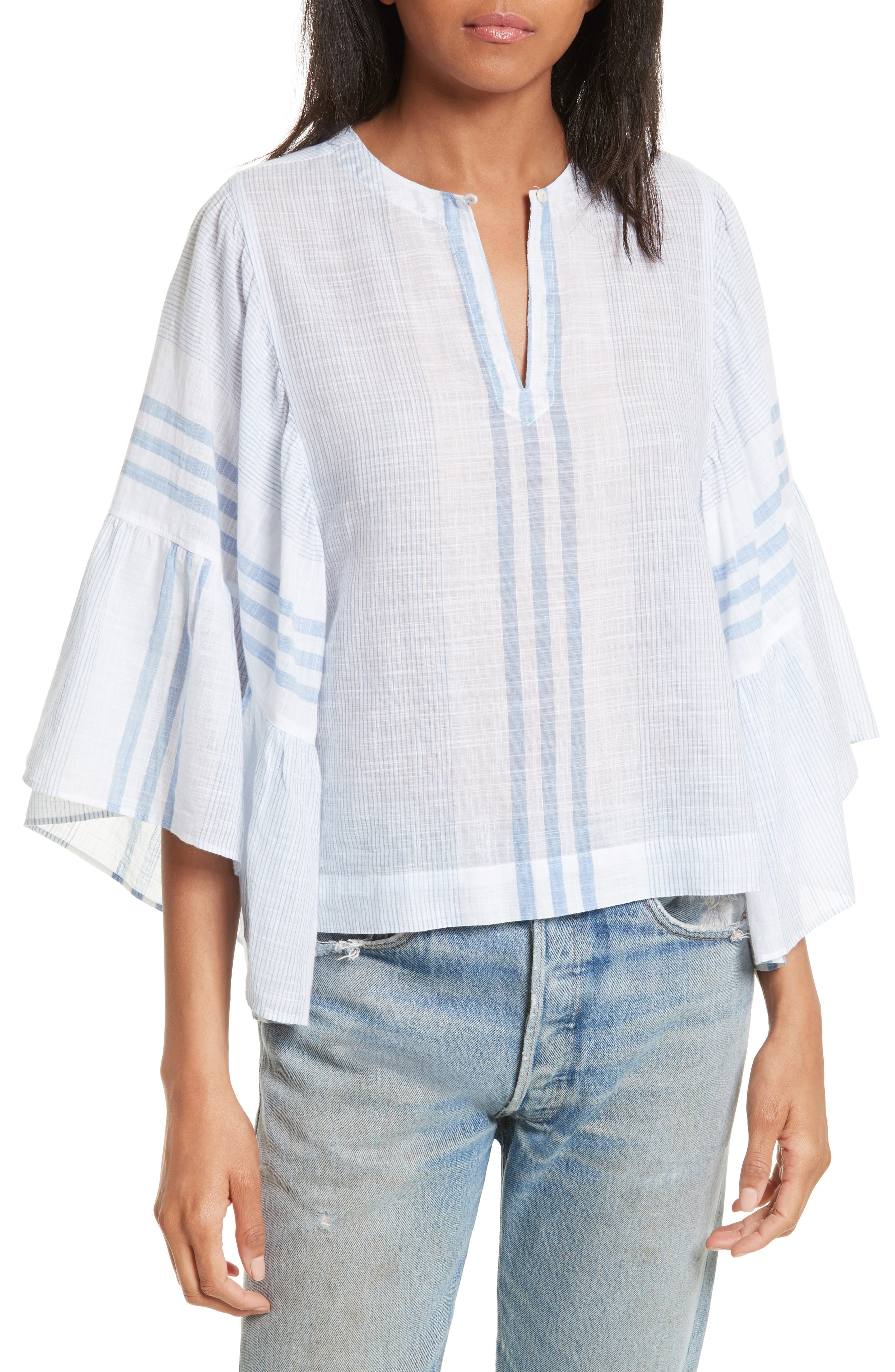 La Vie Rebecca Taylor Bell Sleeve Stripe Top