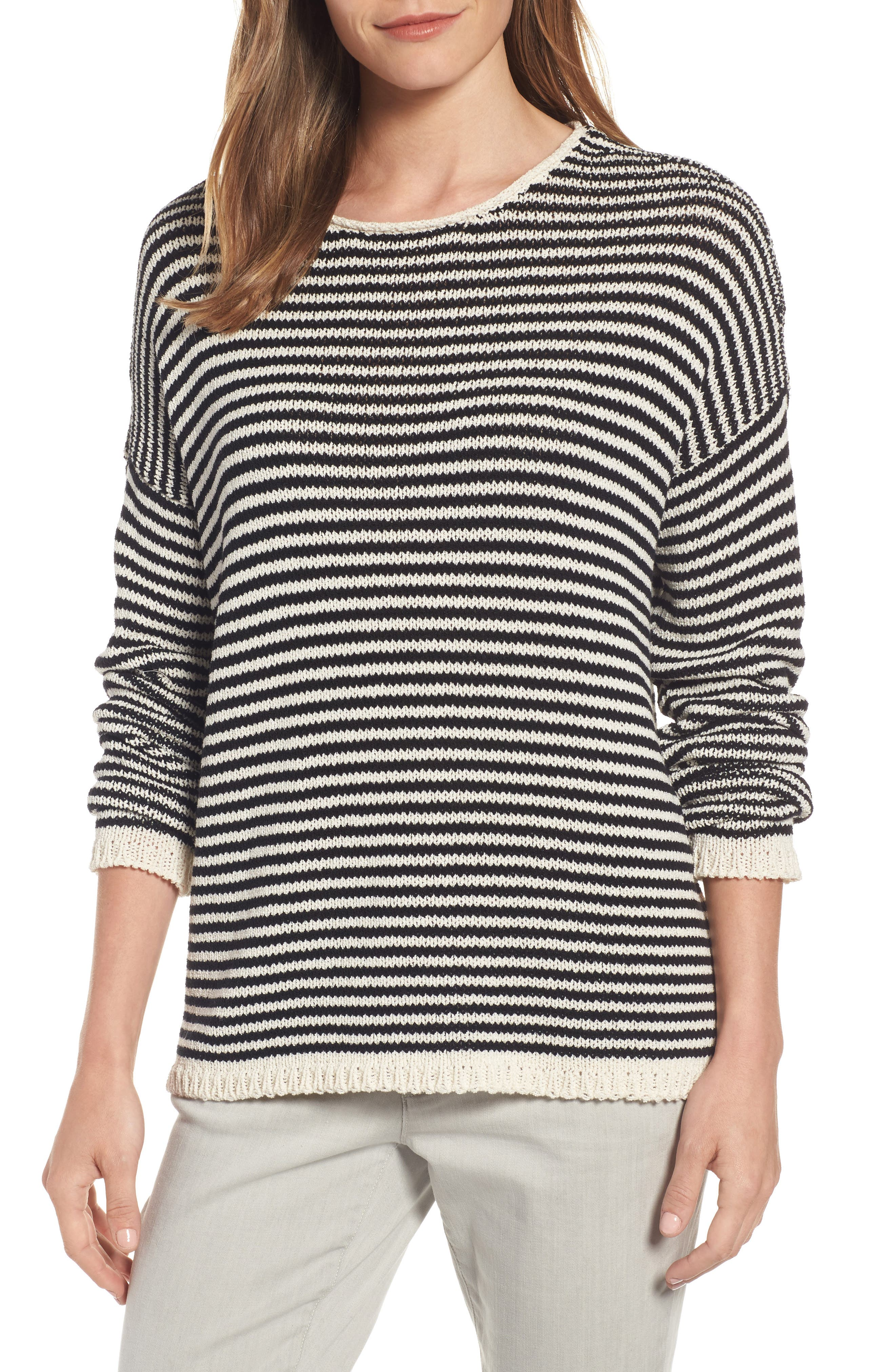 Eileen Fisher Stripe Knit Cotton Blend Boxy Top
