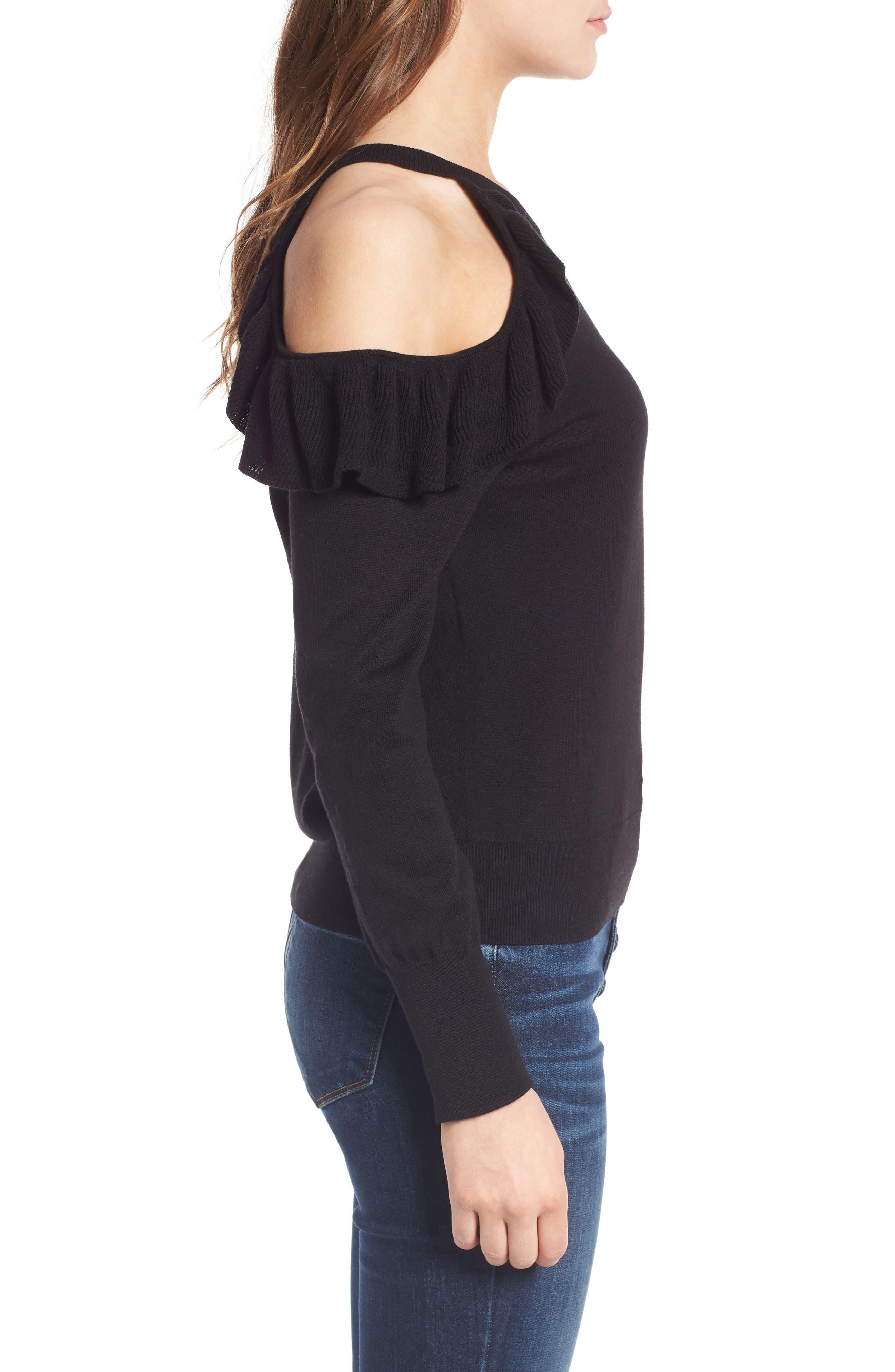 Alternate Image 3  - BP. Ruffle Cold Shoulder Pullover