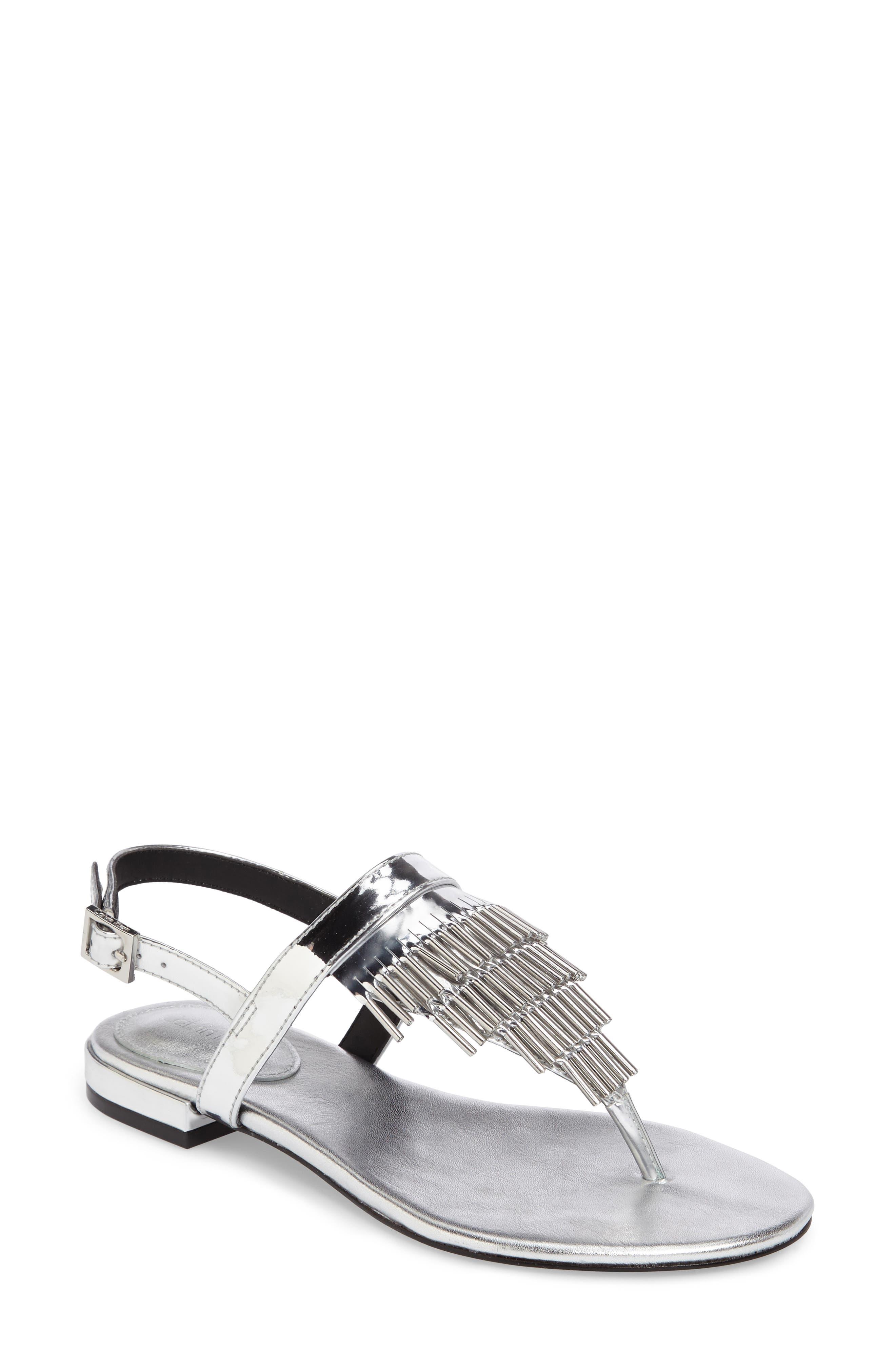 Calvin Klein Evonie Metal-Fringed V-Strap Sandal (Women)