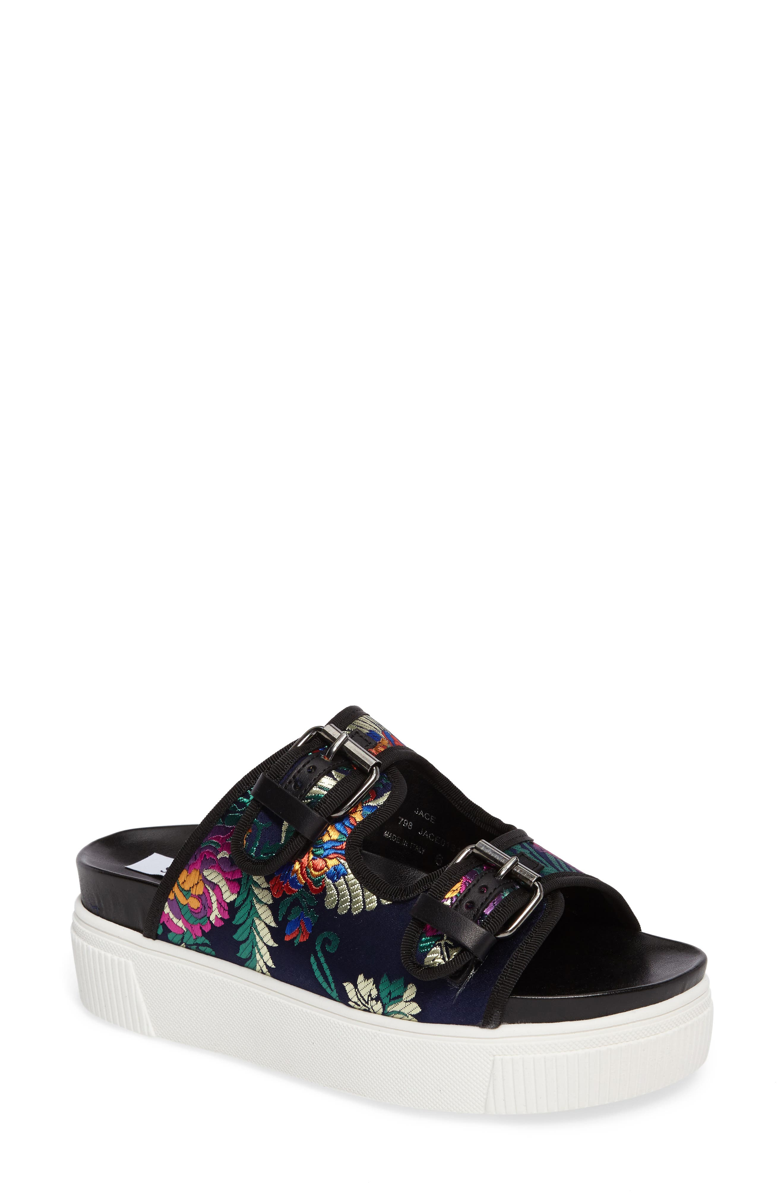 Steve Madden Jace Embroidered Platform Slide Sandal (Women)