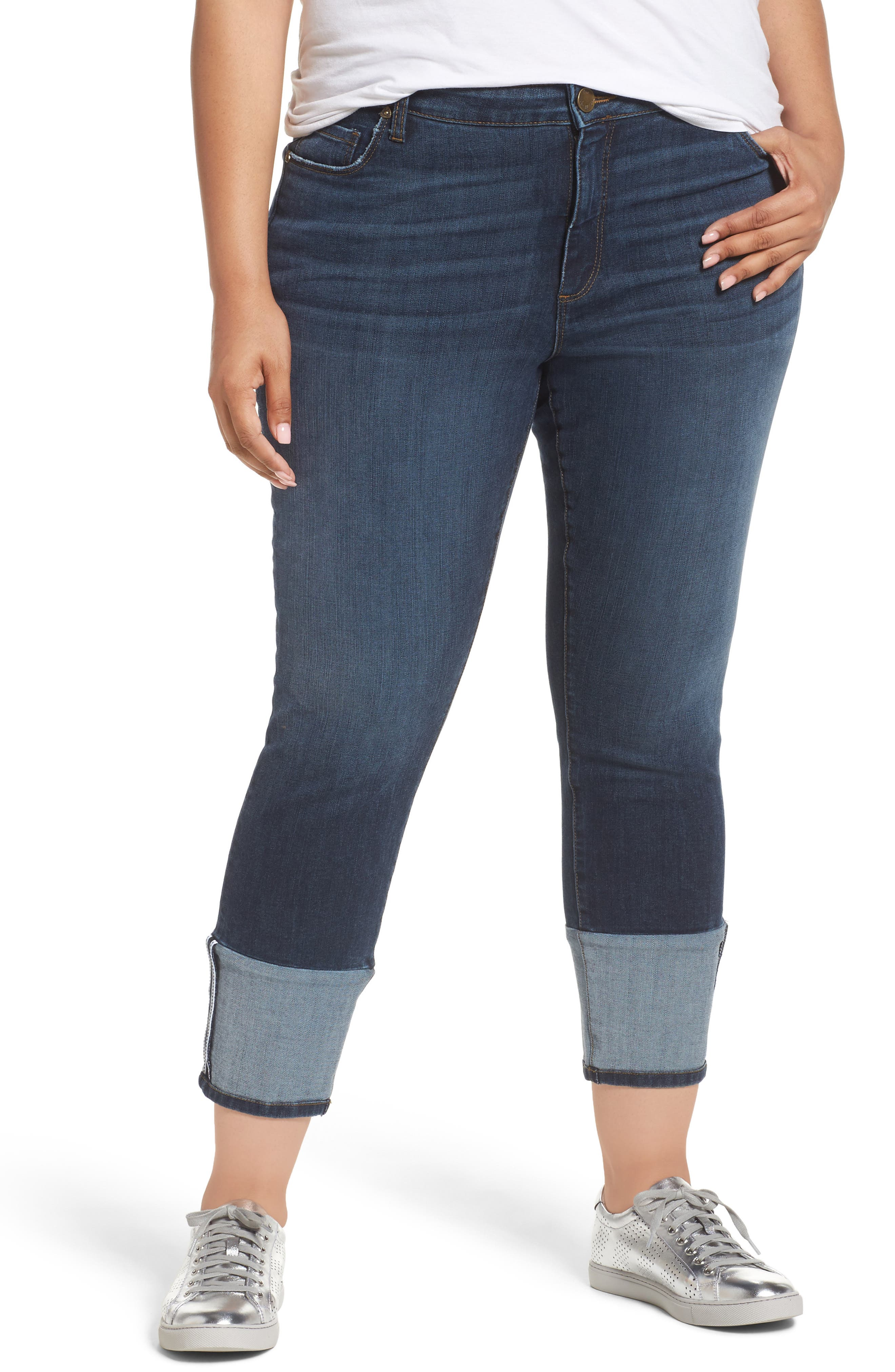 KUT from the Kloth Reese Straight Leg Ankle Jeans (Stimulating) (Plus Size)