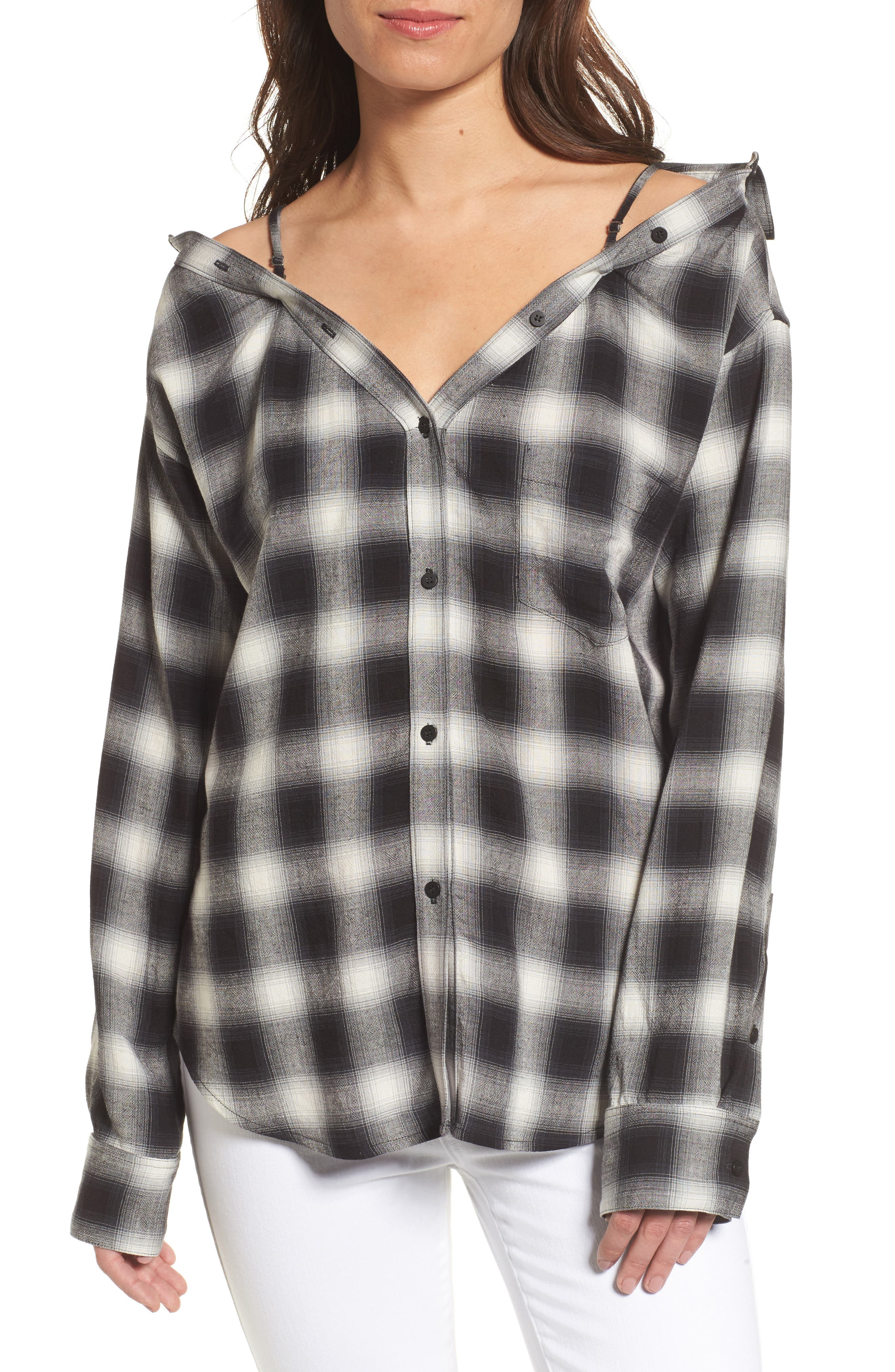 Bailey 44 Terre Check Off the Shoulder Tunic