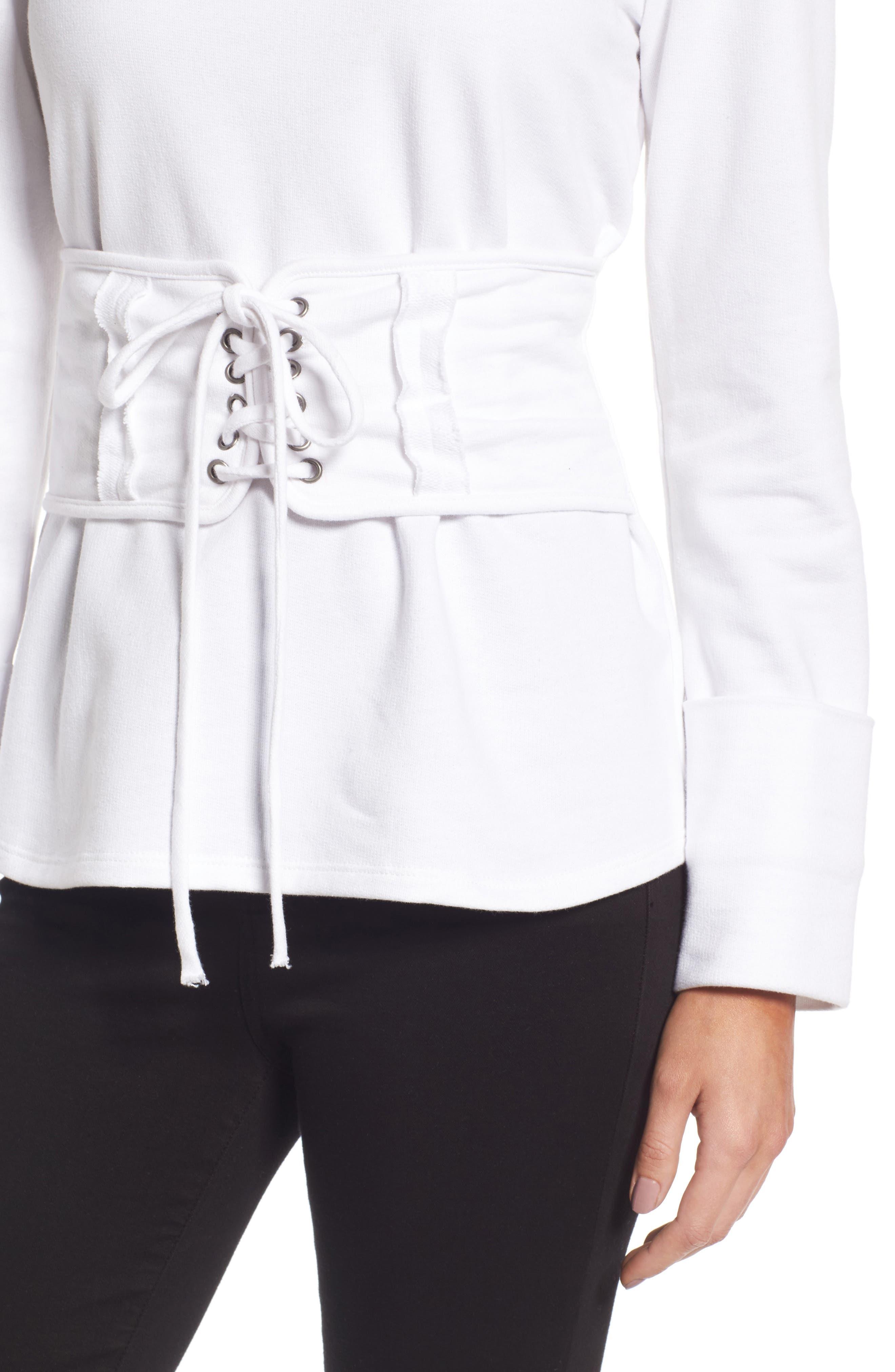 Alternate Image 5  - Trouvé Lace-Up Corset Sweatshirt