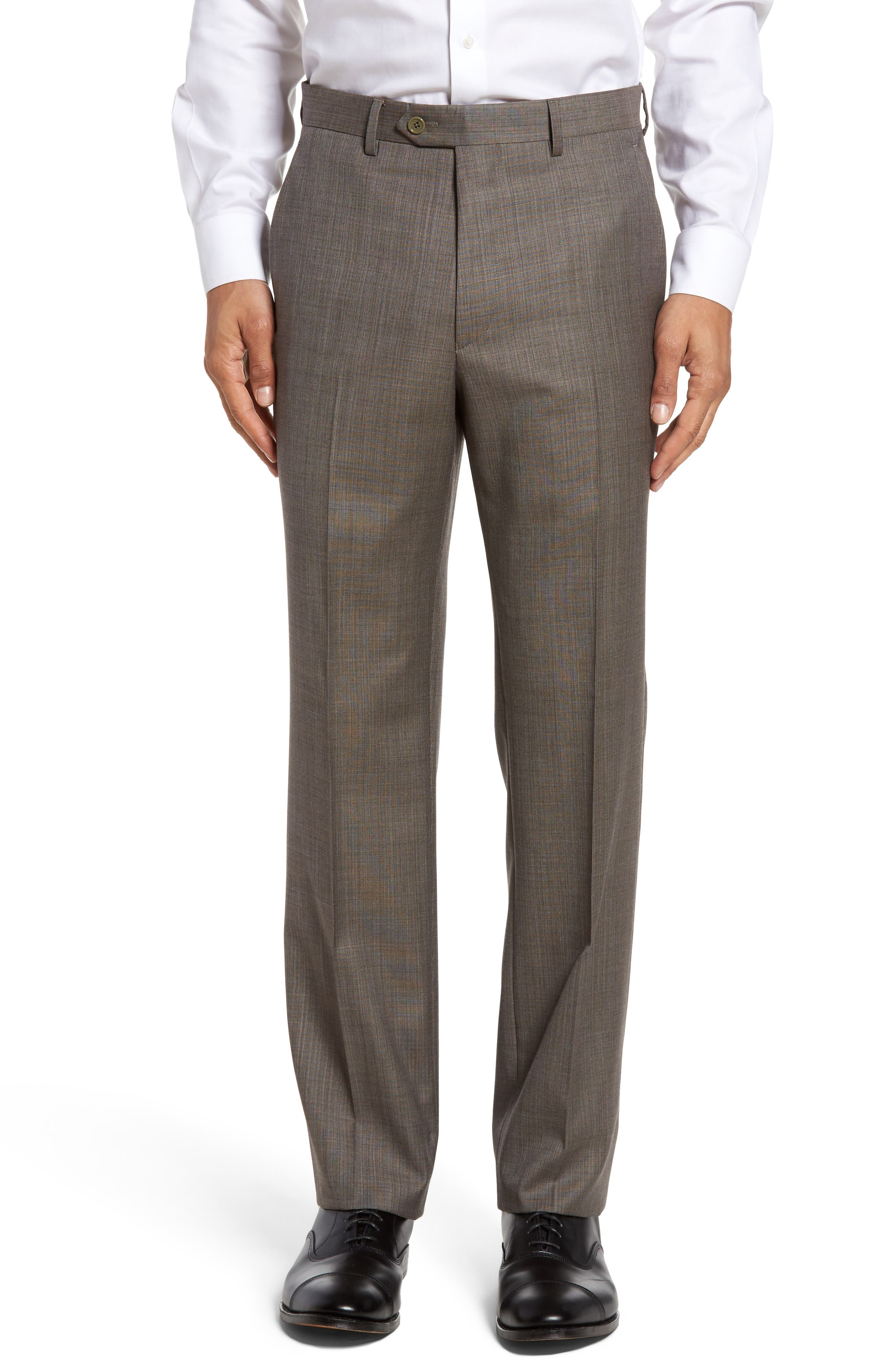 Santorelli Flat Front Solid Wool Trousers