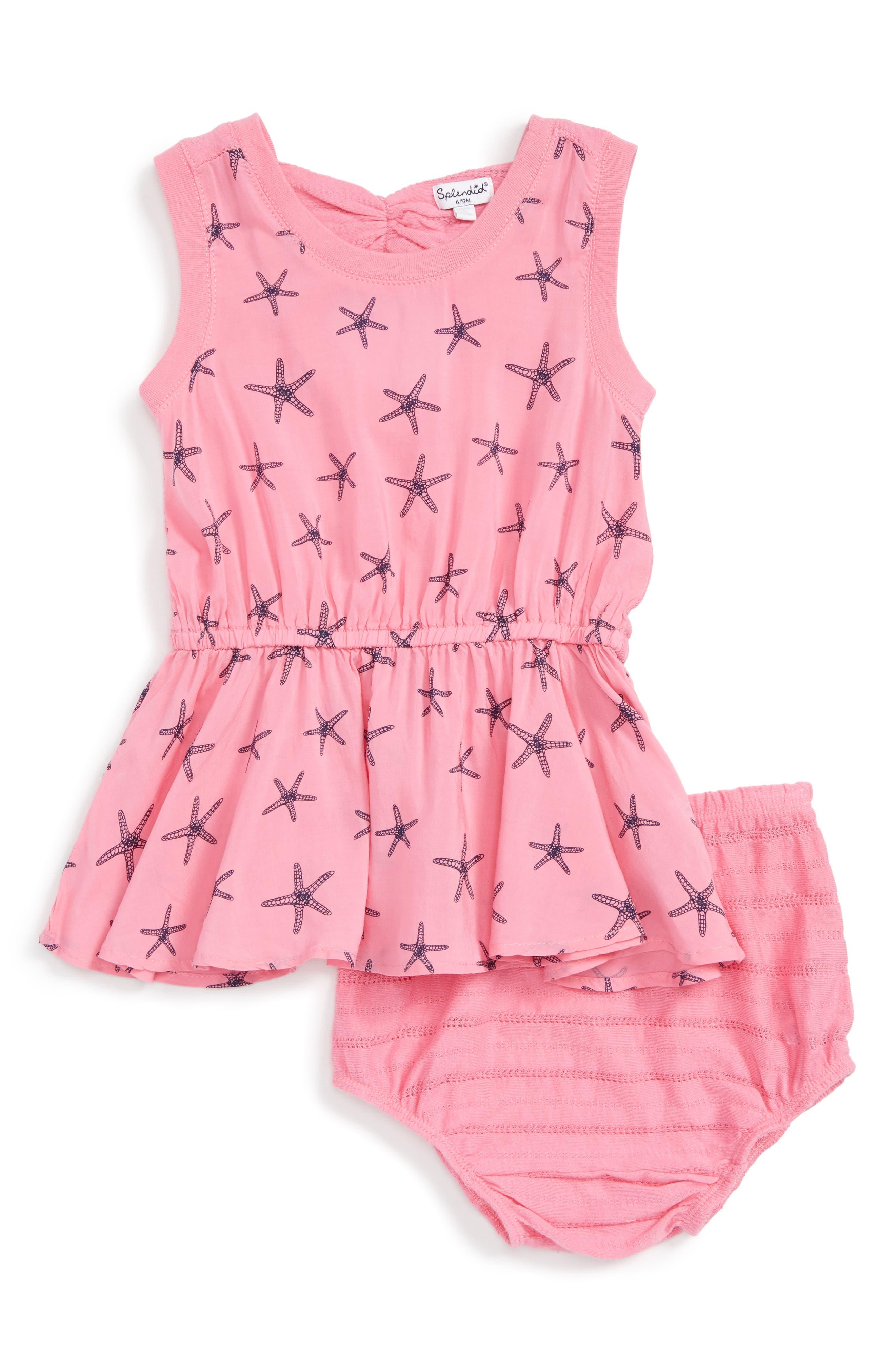 Splendid Starfish Print Dress (Baby Girls)