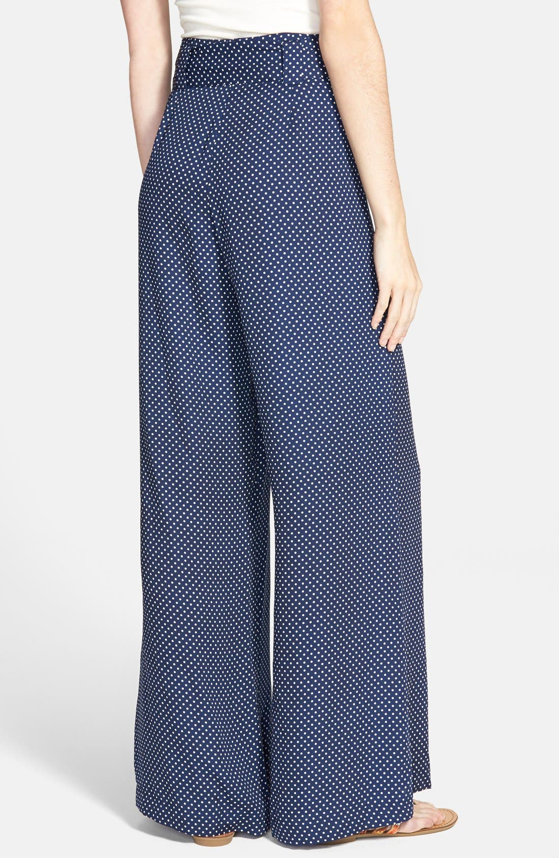 Alternate Image 2  - Socialite Print Tie Front Palazzo Pants (Juniors)