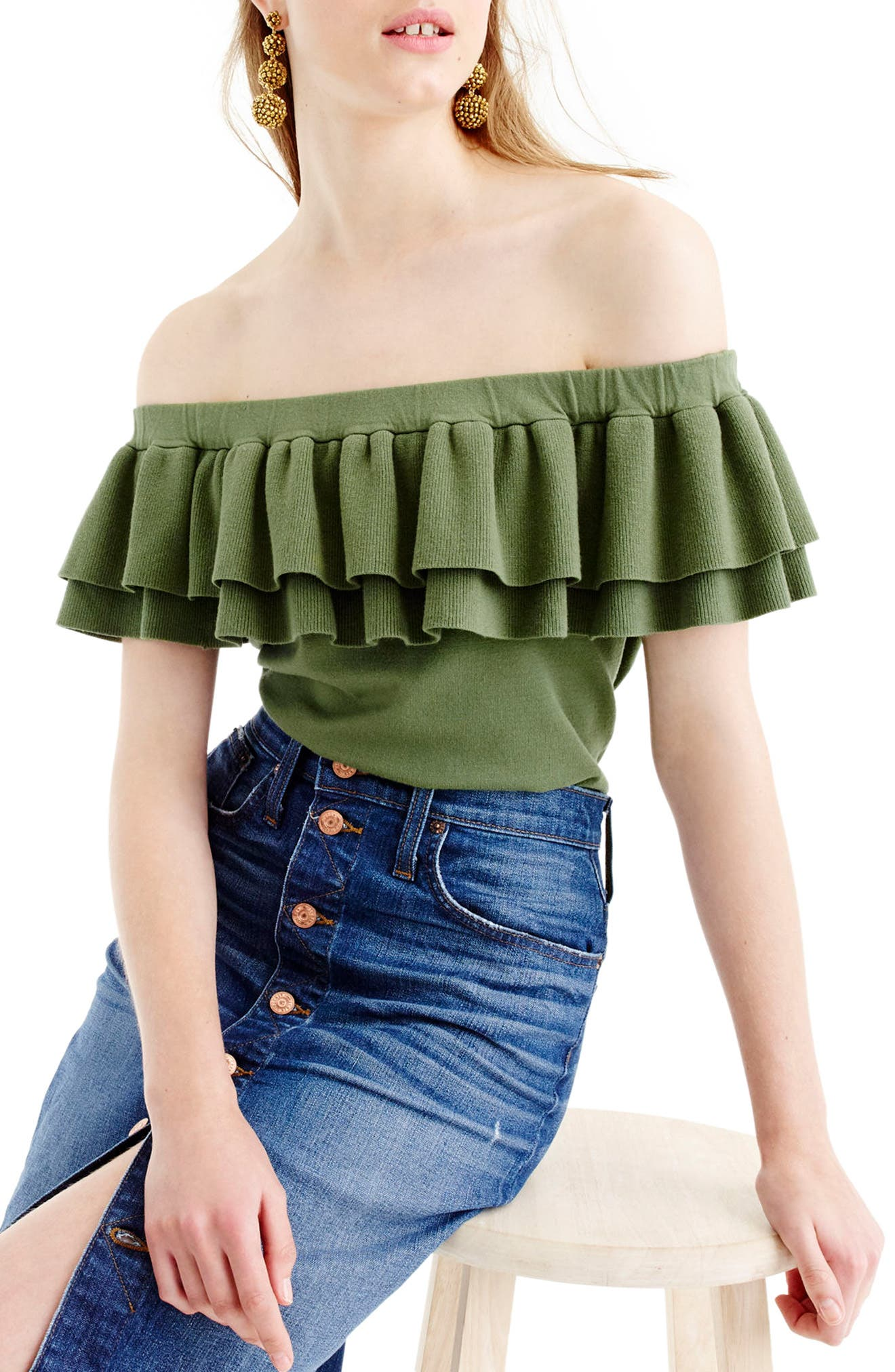 J.Crew Lightweight Off the Shoulder Sweater