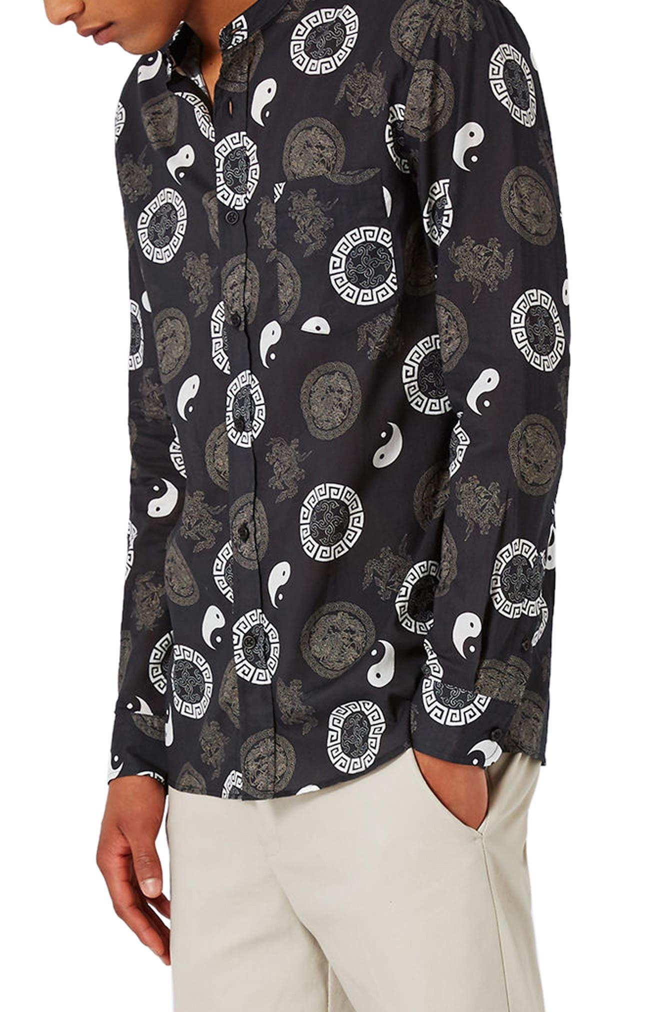 Topman Yin Yang Print Band Collar Shirt