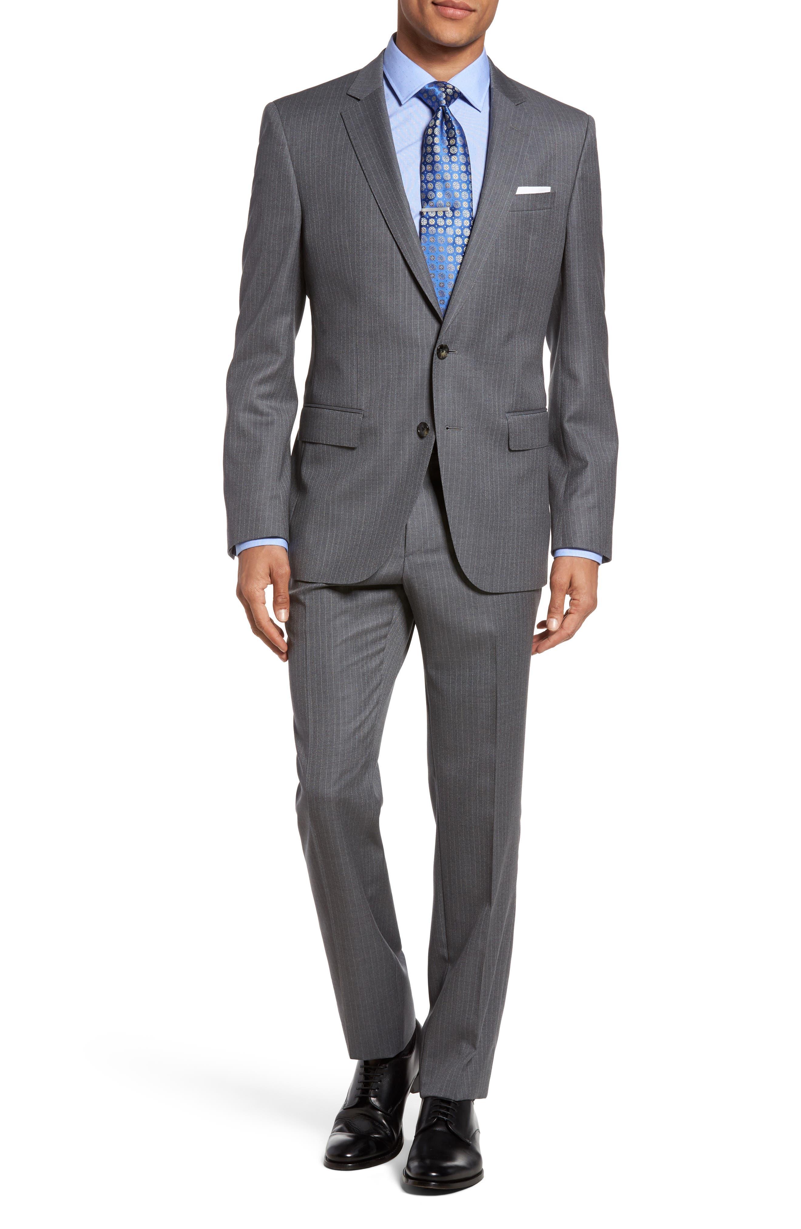 BOSS Huge/Genius 11 Trim Fit Stripe Wool Suit