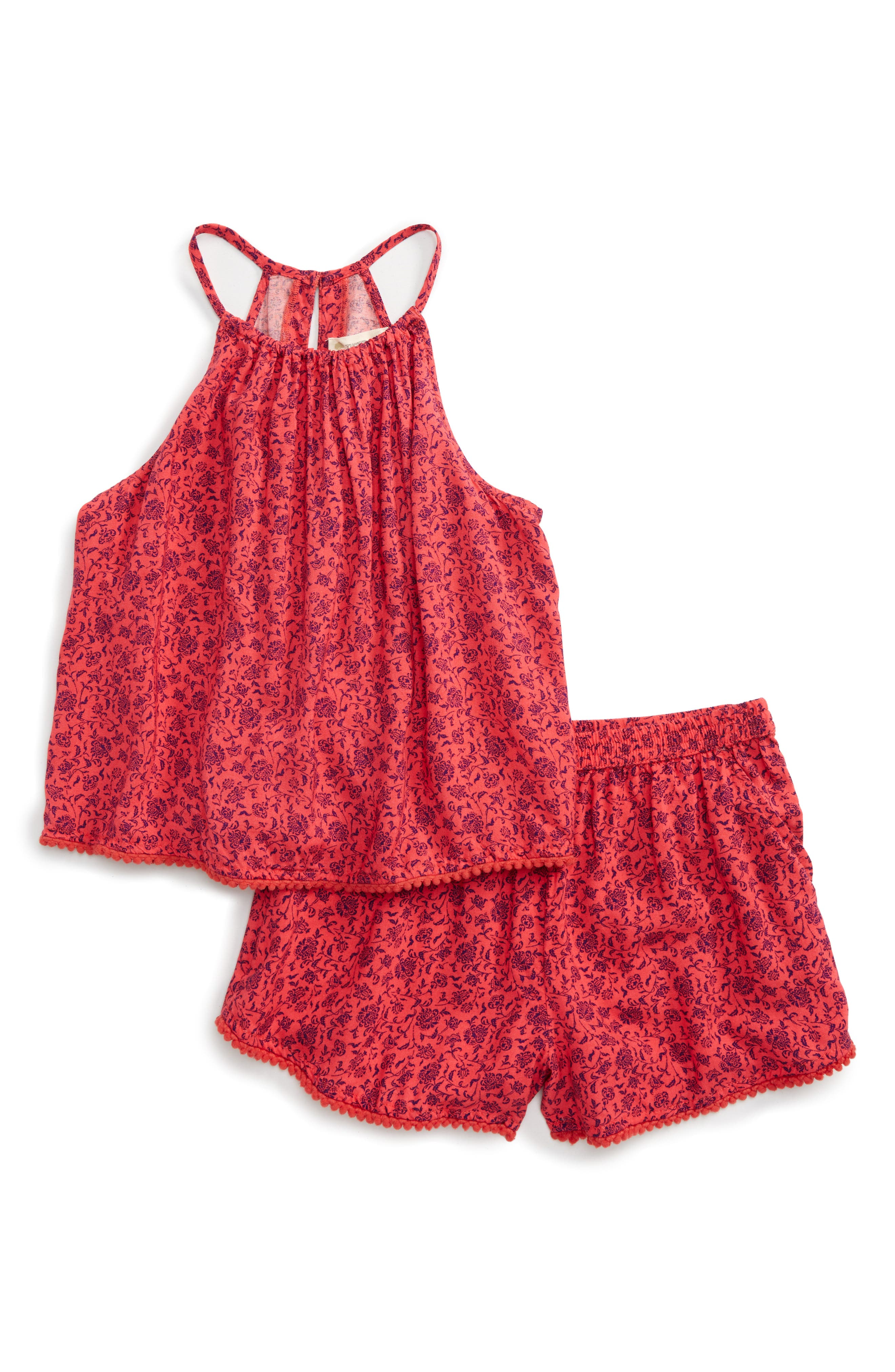 Tucker + Tate Pompom Trim Tank & Shorts Set (Big Girls)