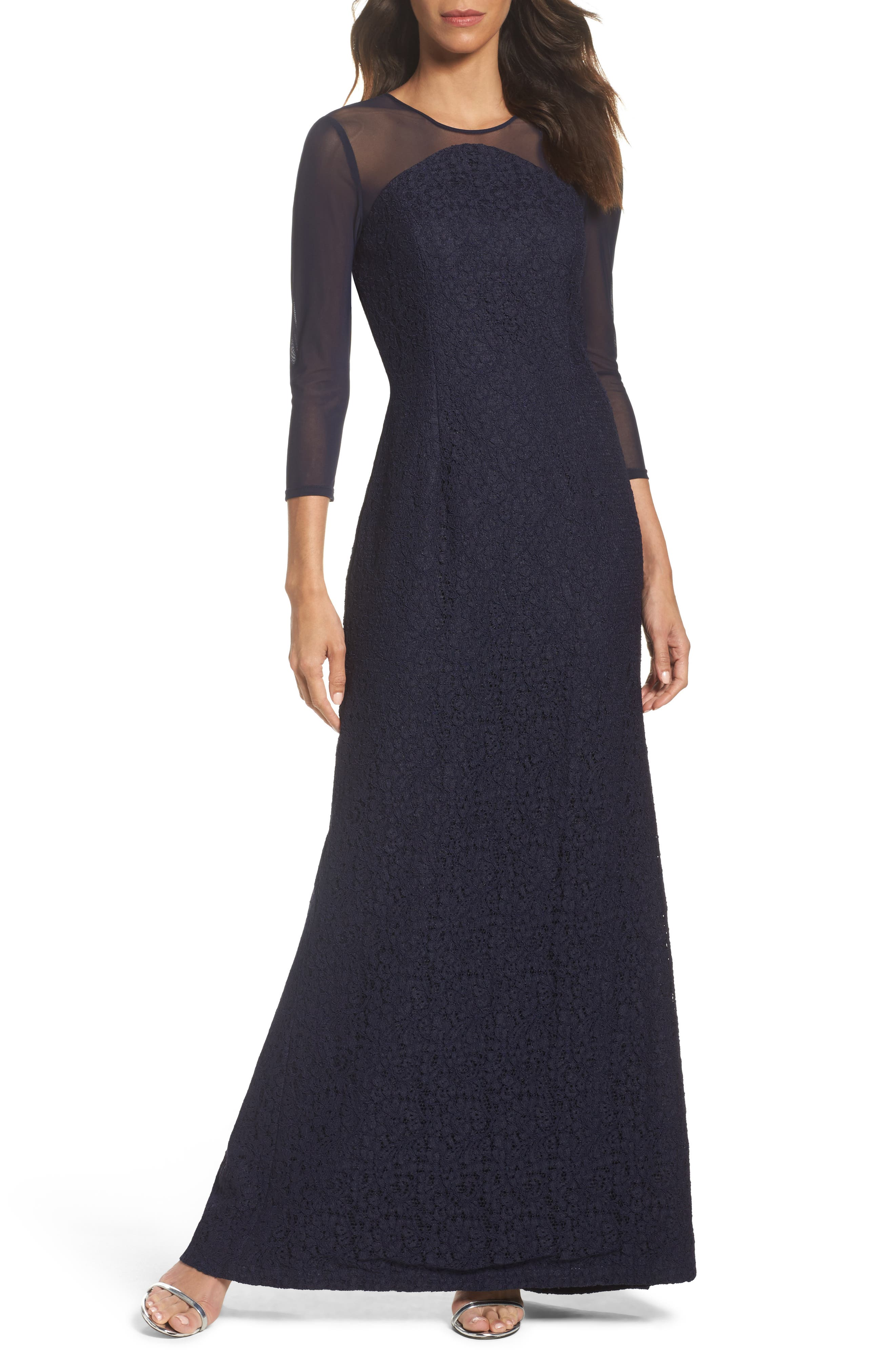 Adrianna Papell Lace Gown (Regular & Petite)