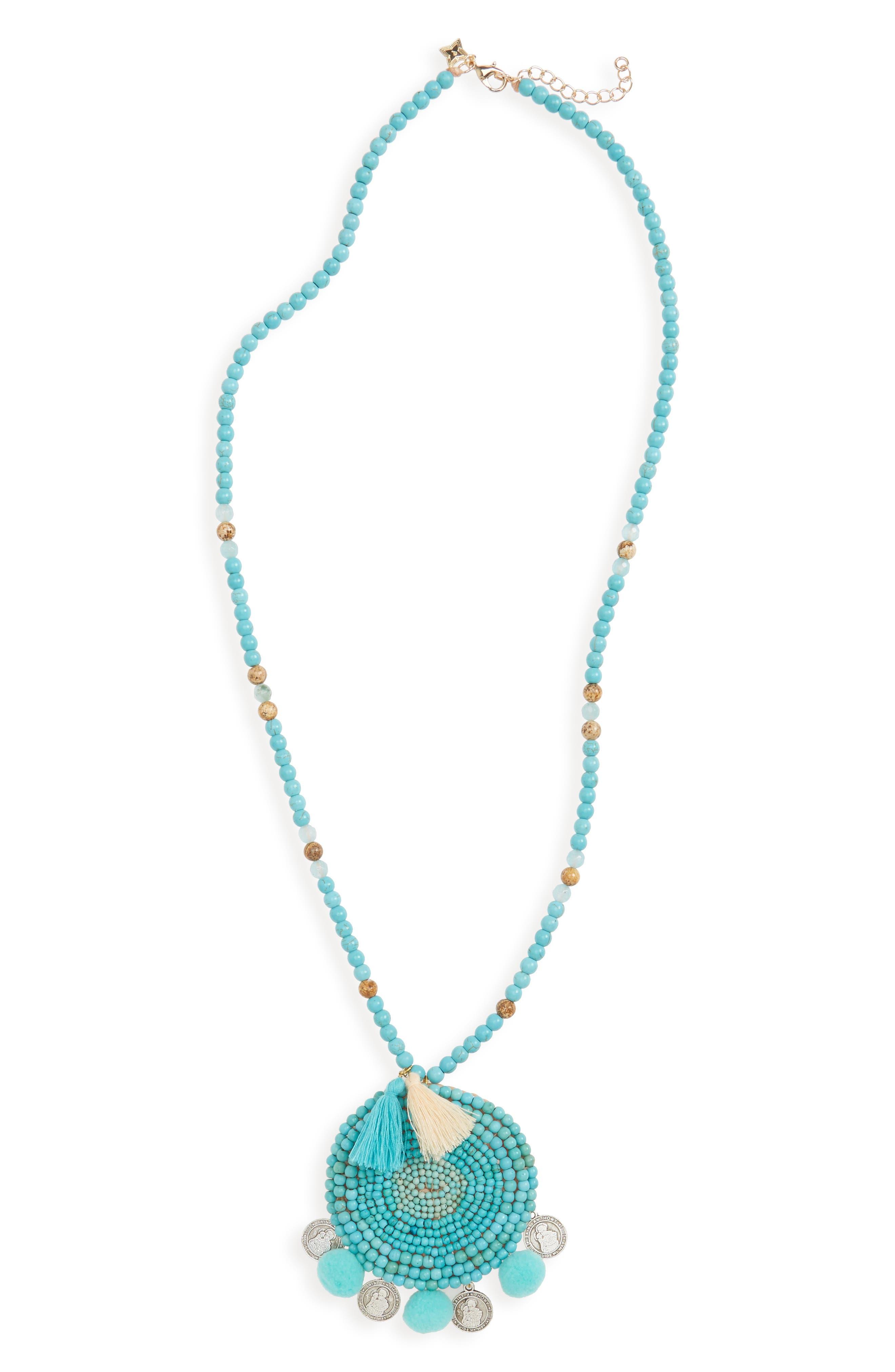 Panacea Howlite Medallion Pompom Necklace