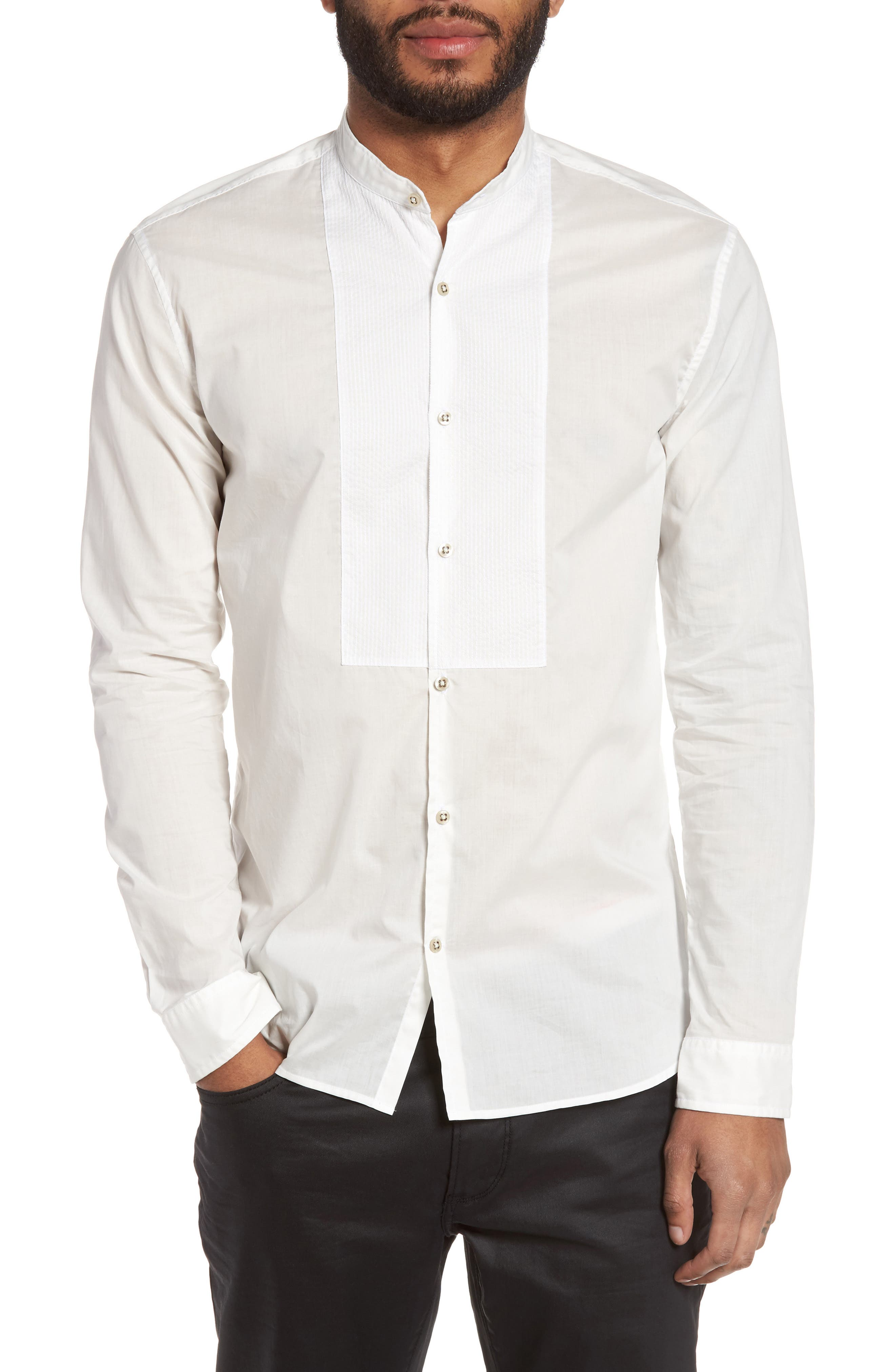 John Varvatos Star USA Trim Fit Bib Front Sport Shirt