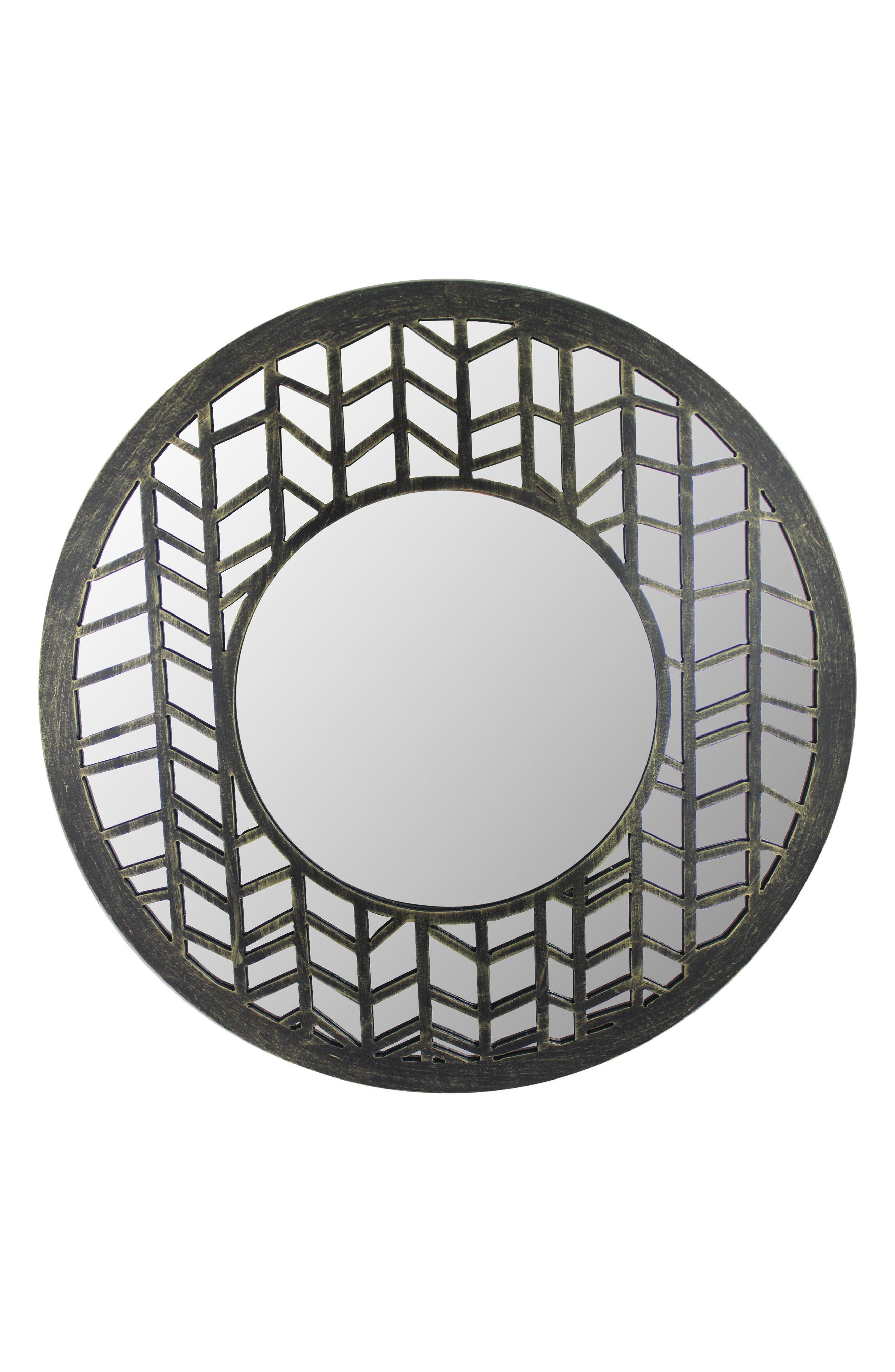 Era Home Herringbone Chevron Frame Round Mirror