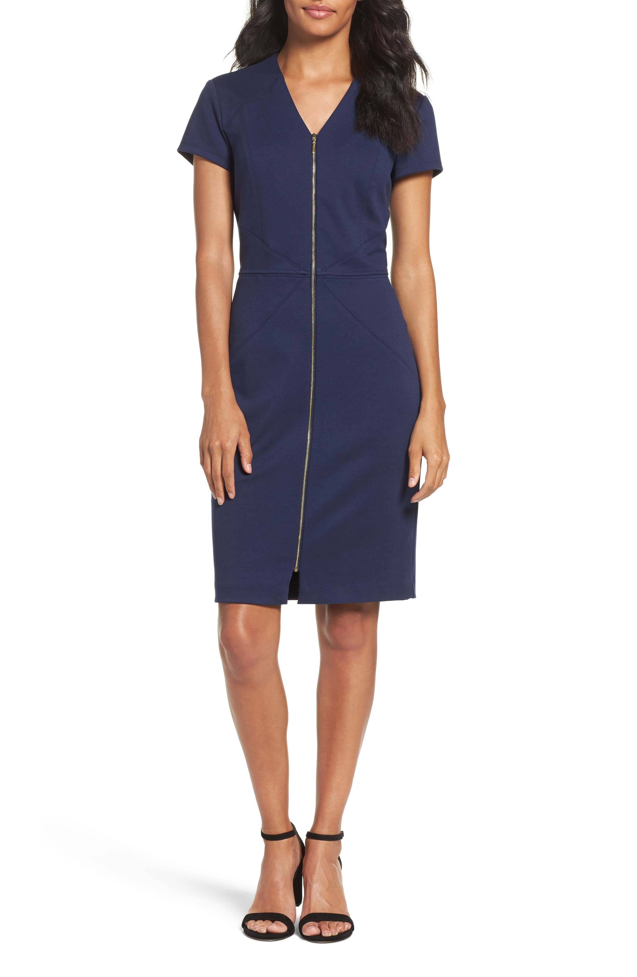 Ellen Tracy Zip Front Sheath Dress (Regular & Petite)