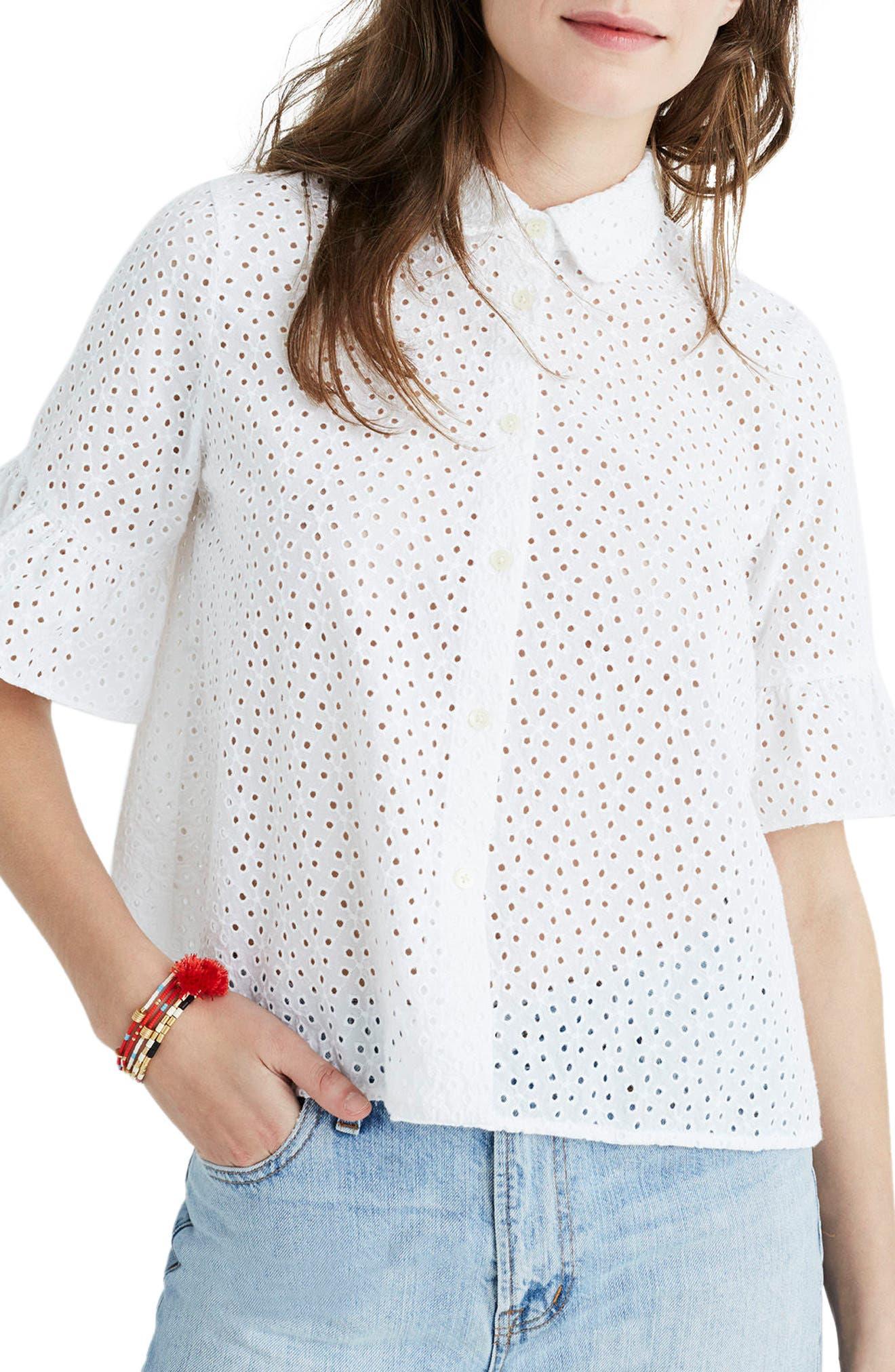 Madewell Eyelet Bell Sleeve Shirt