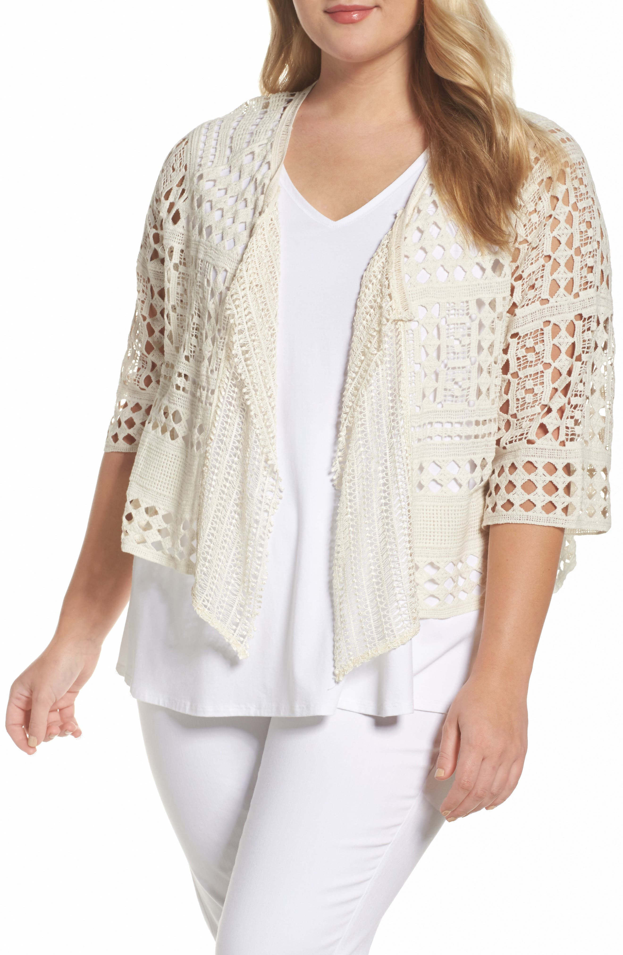 XCVI Wearables Cosima Cotton Crochet Cardigan (Plus Size)