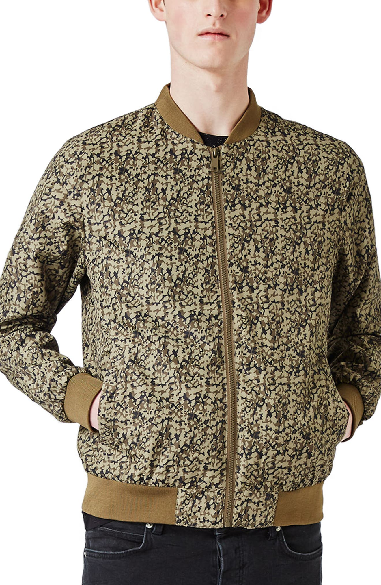 Topman Abstract Camo Print Bomber Jacket