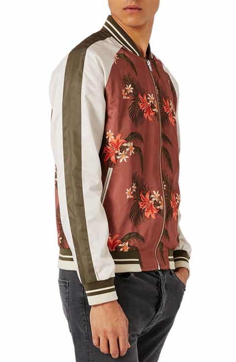Topman Tropical Print Satin Bomber Jacket