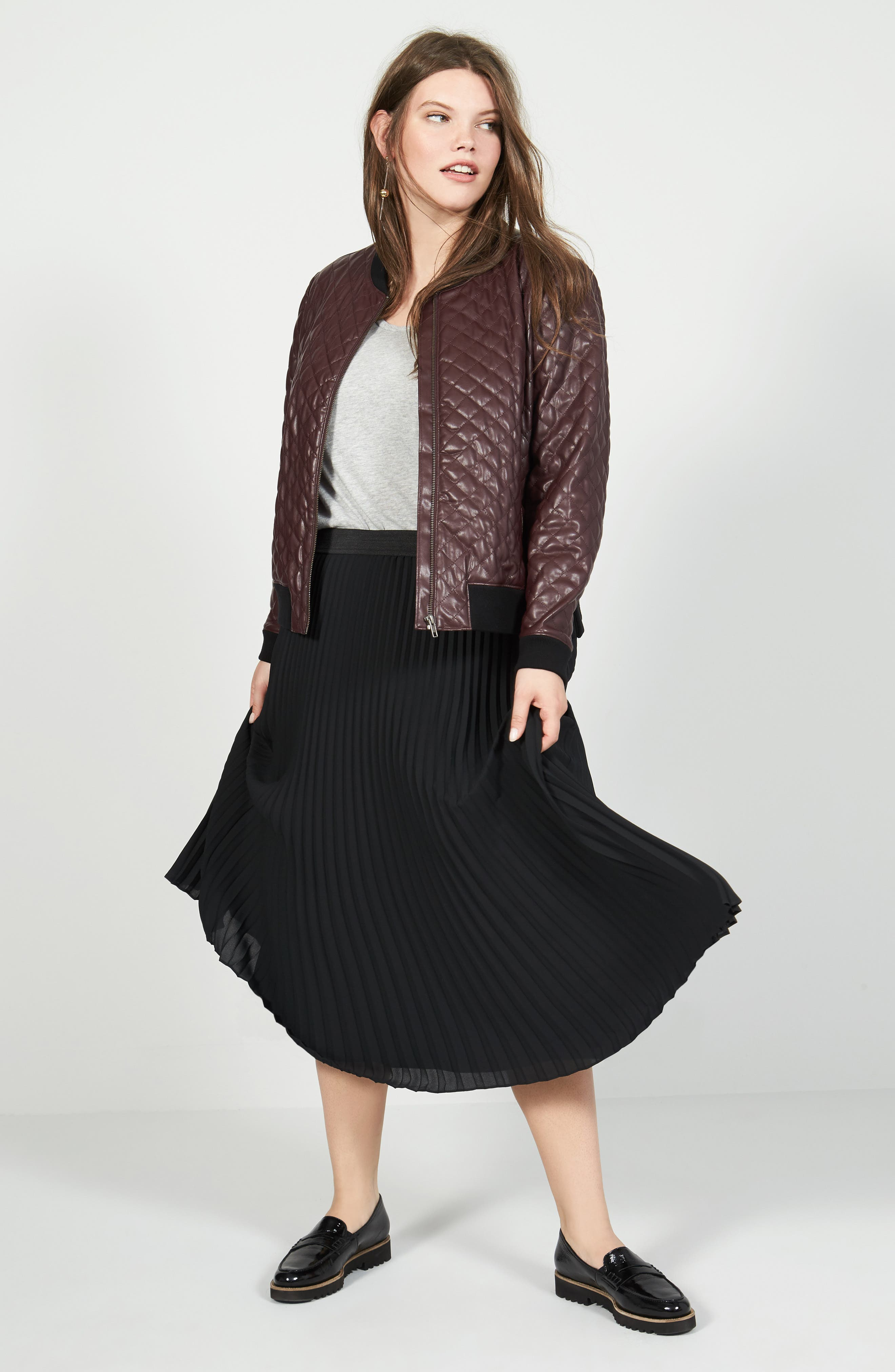 Caslon® Tee, Sejour Jacket & Skirt Outfit with Accessories (Plus Size)