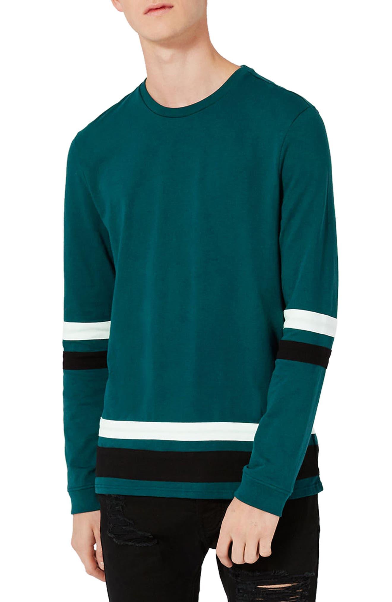 Topman Contrast Stripe Long Sleeve T-Shirt