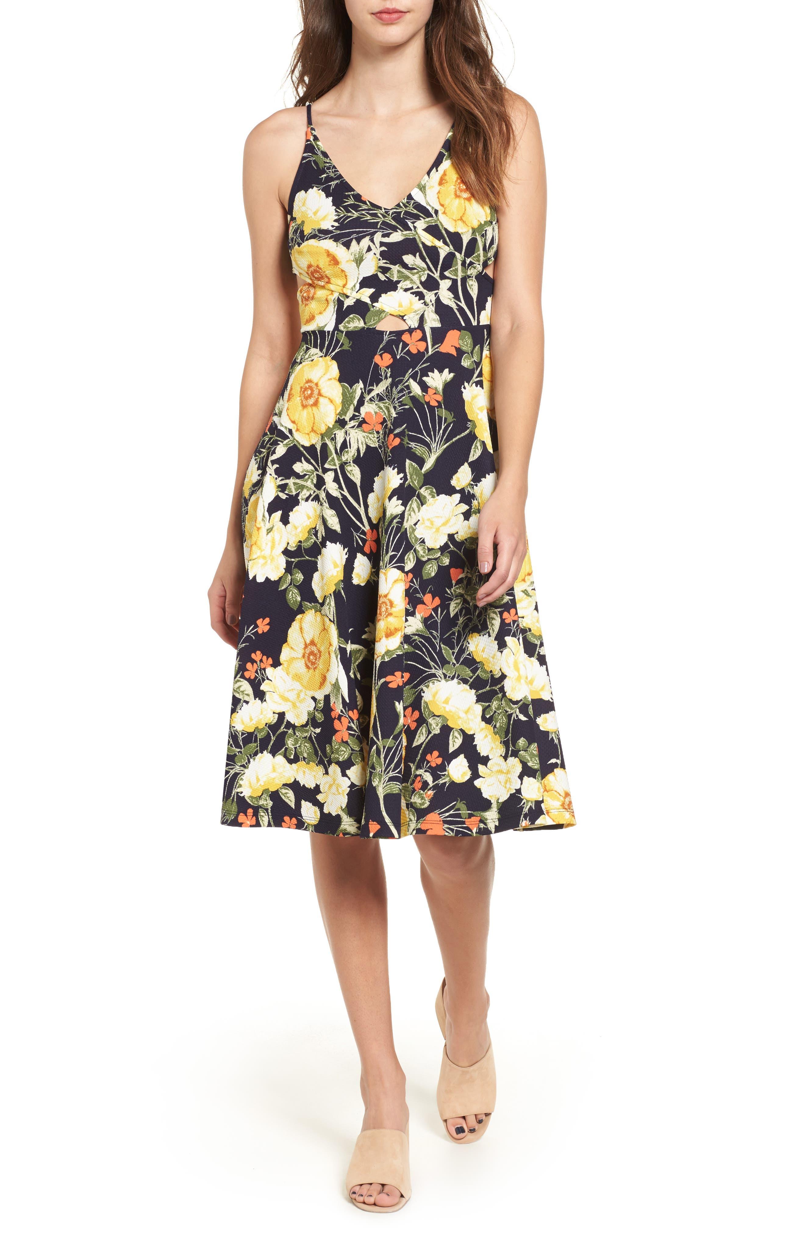 Soprano Floral Print Cutout Midi Dress