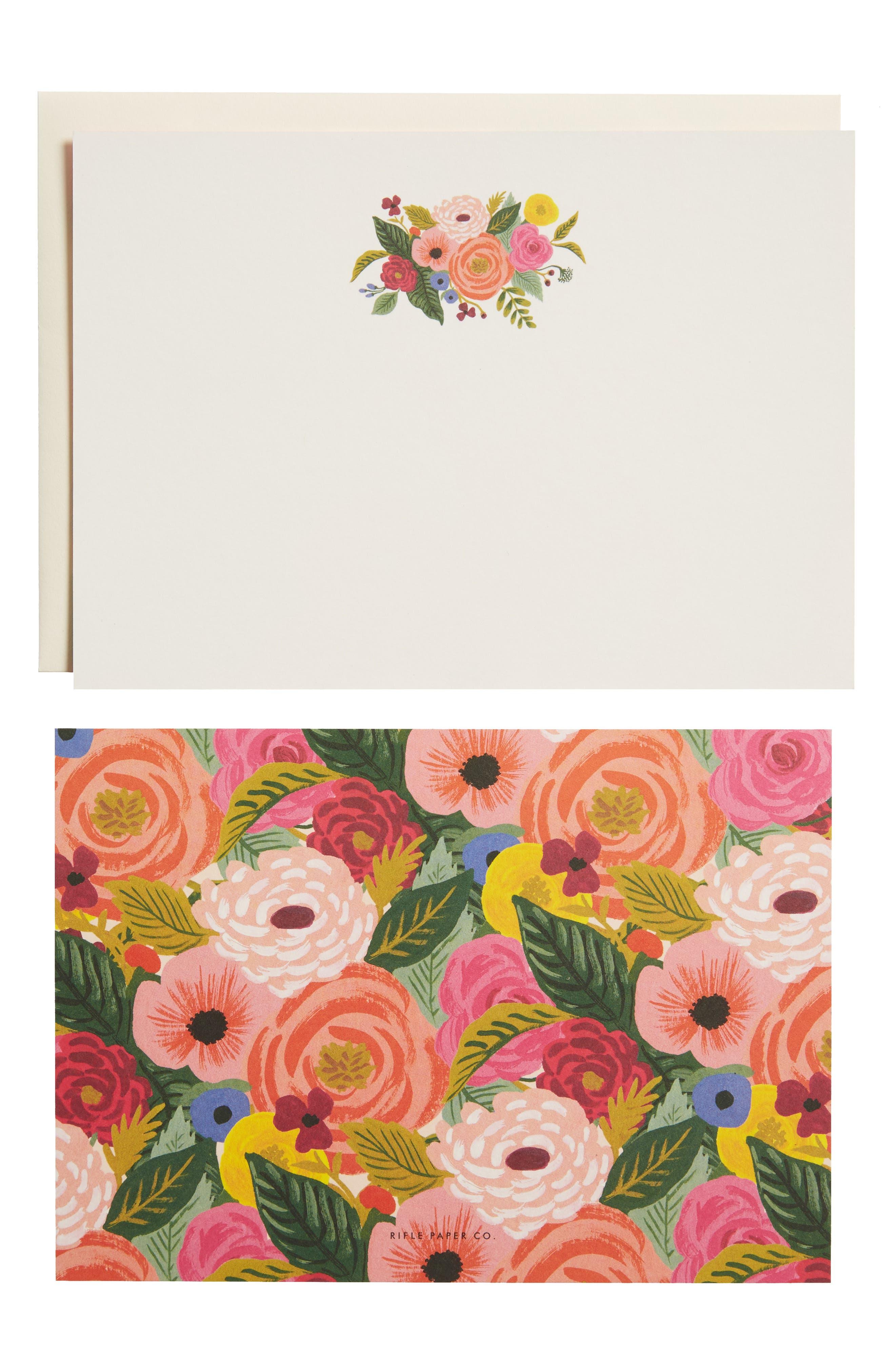 Rifle Paper Co. Juliet Rose Social Stationery 12-Pack Note Cards & Envelopes