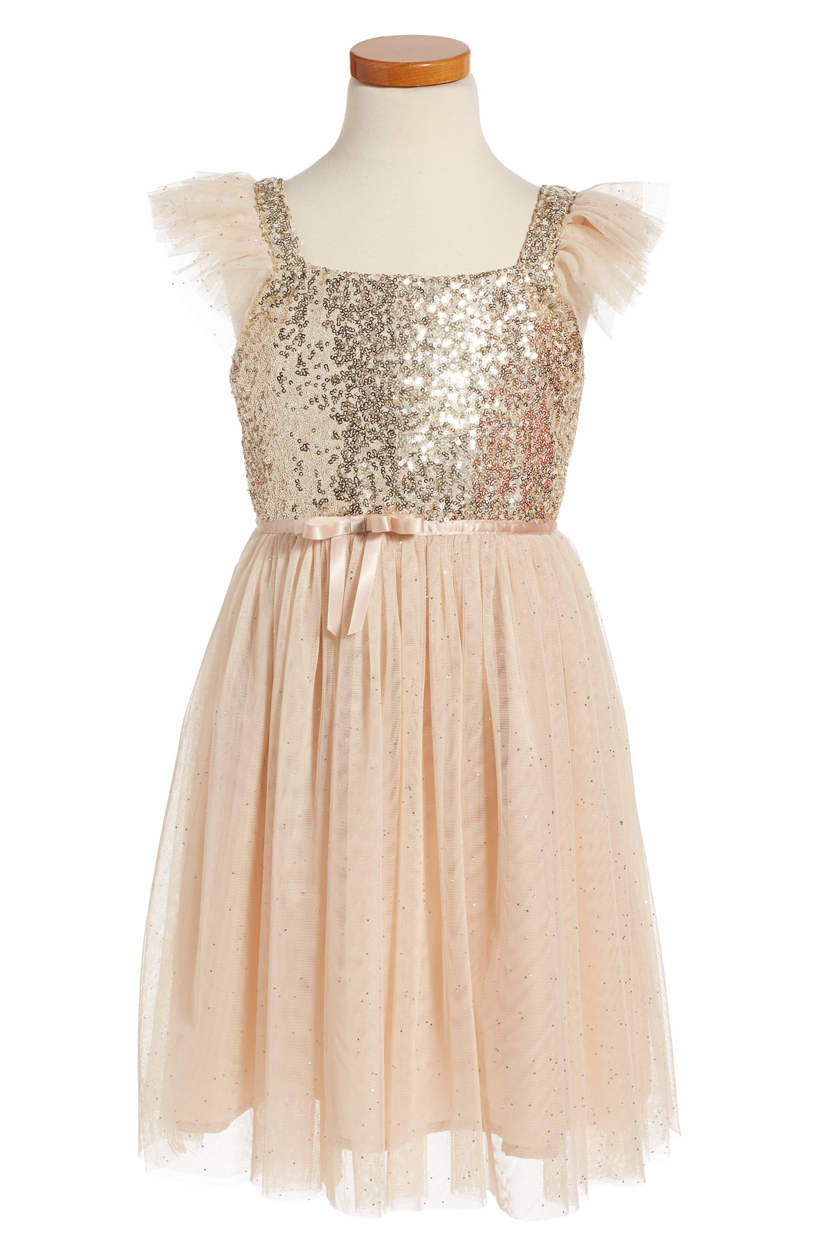 Main Image - PopatuSequin Bodice Tulle Dress (Toddler Girls, Little Girls & Big Girls)