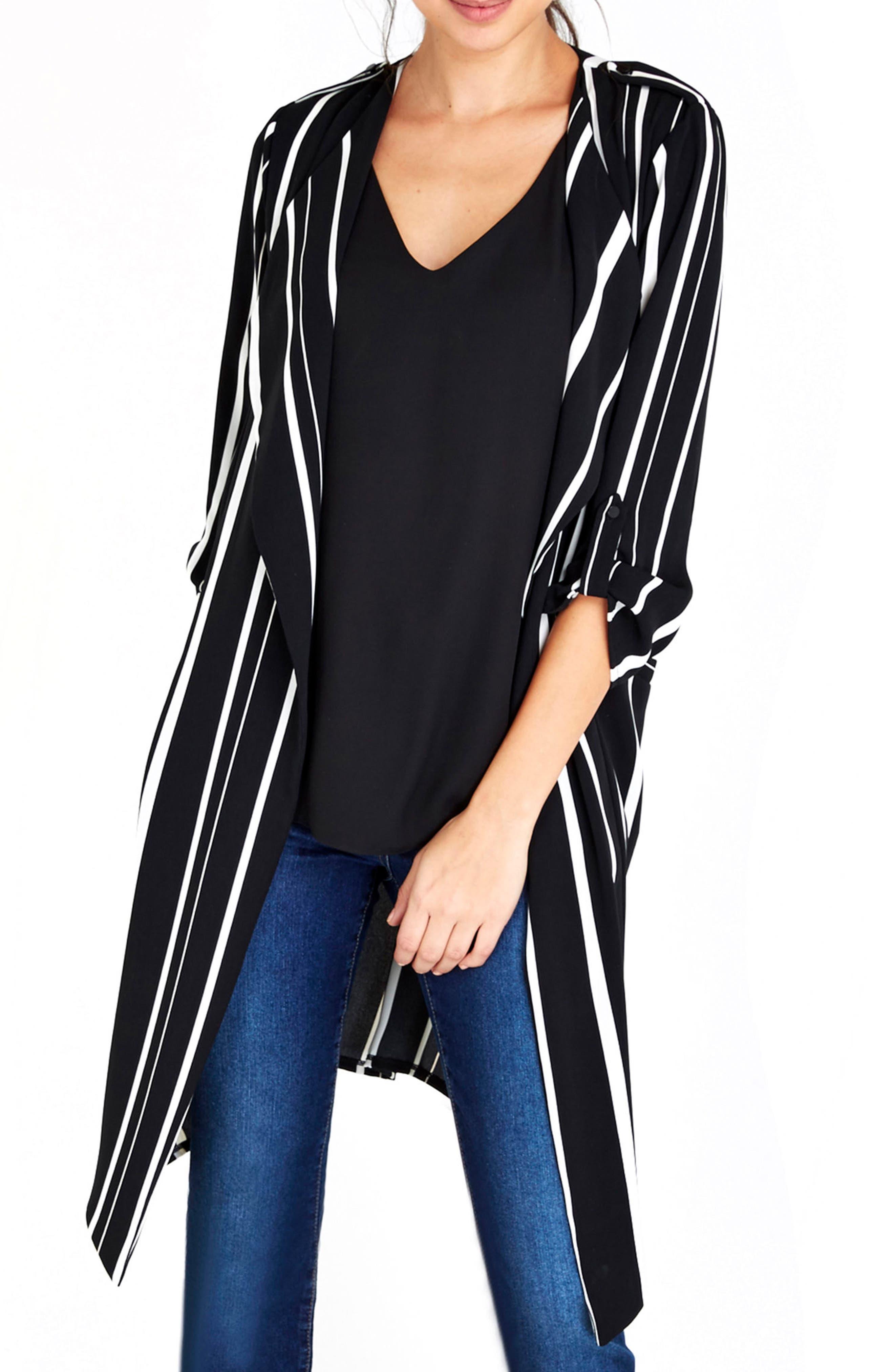 Wallis Stella Stripe Open Front Long Jacket