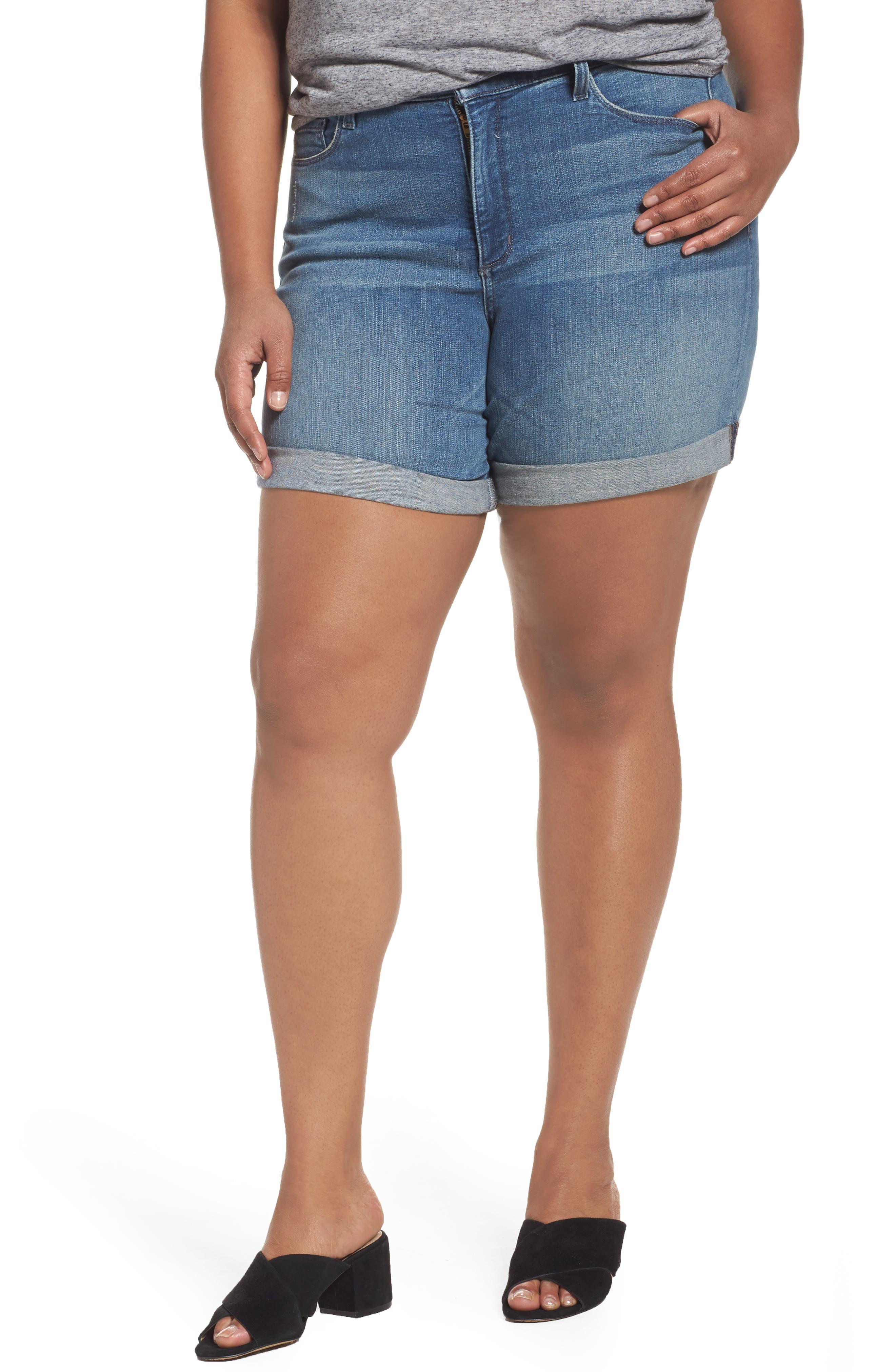 NYDJ Jessica Boyfriend Denim Shorts (Paloma Rip) (Plus Size)