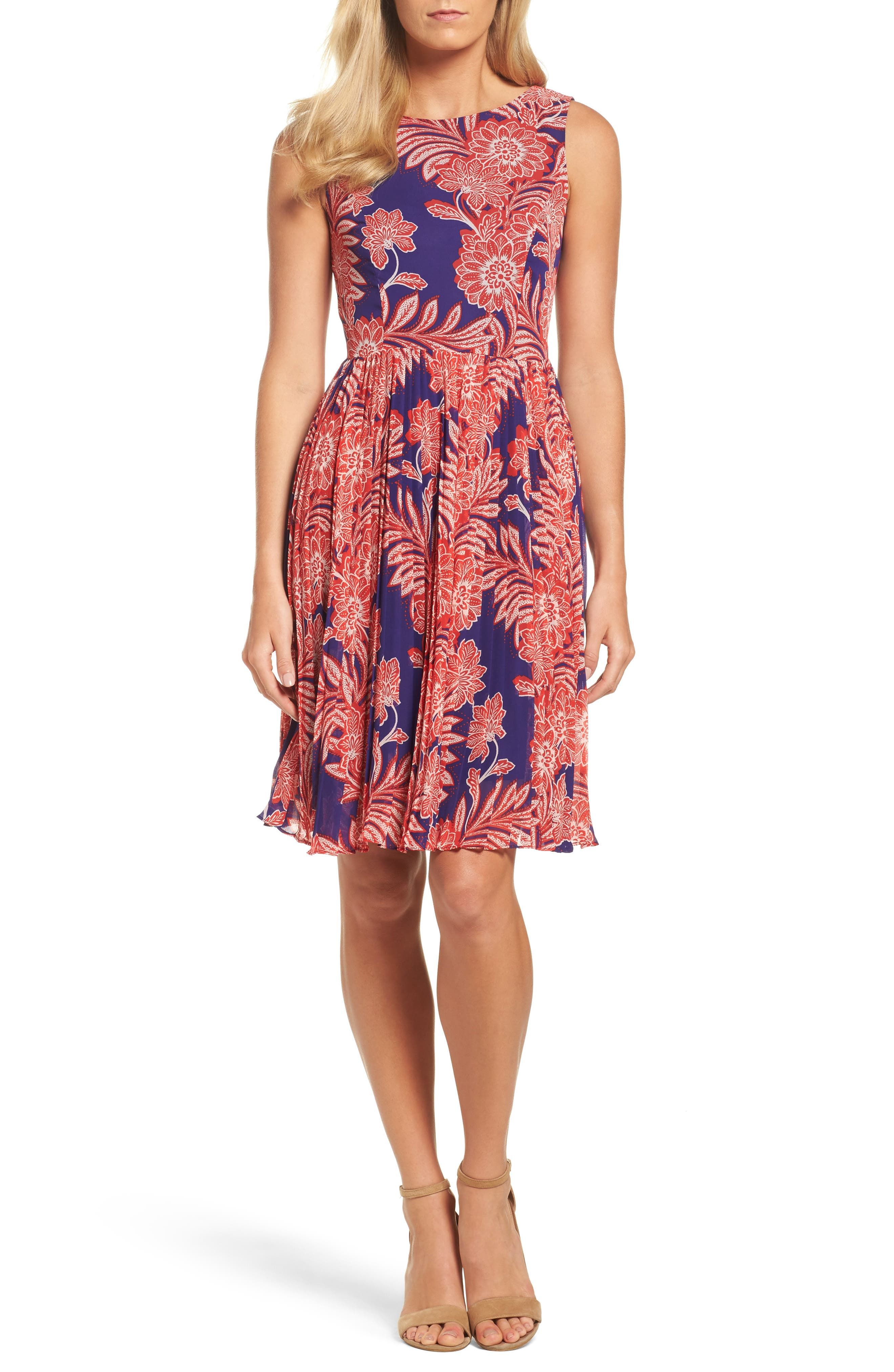 Adrianna Papell Chiffon Fit & Flare Dress (Regular & Petite)