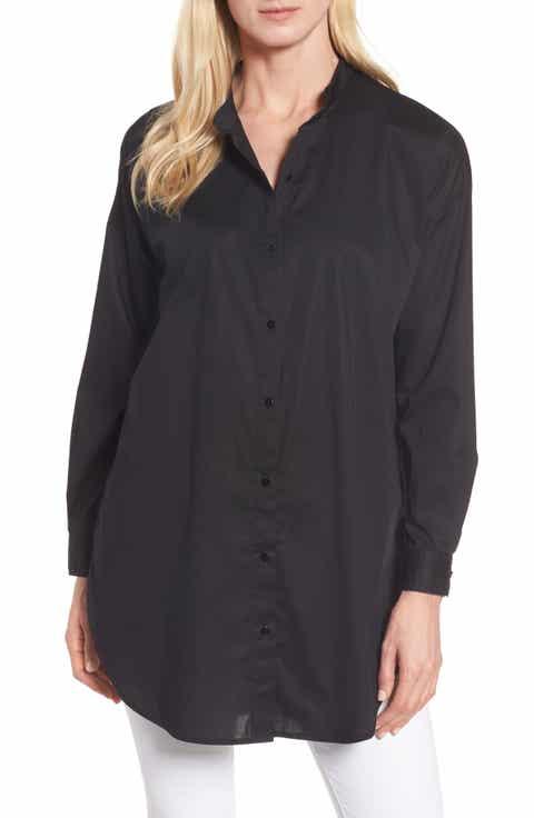Eileen Fisher Stretch Organic Cotton Tunic Shirt (Regular   Petite)