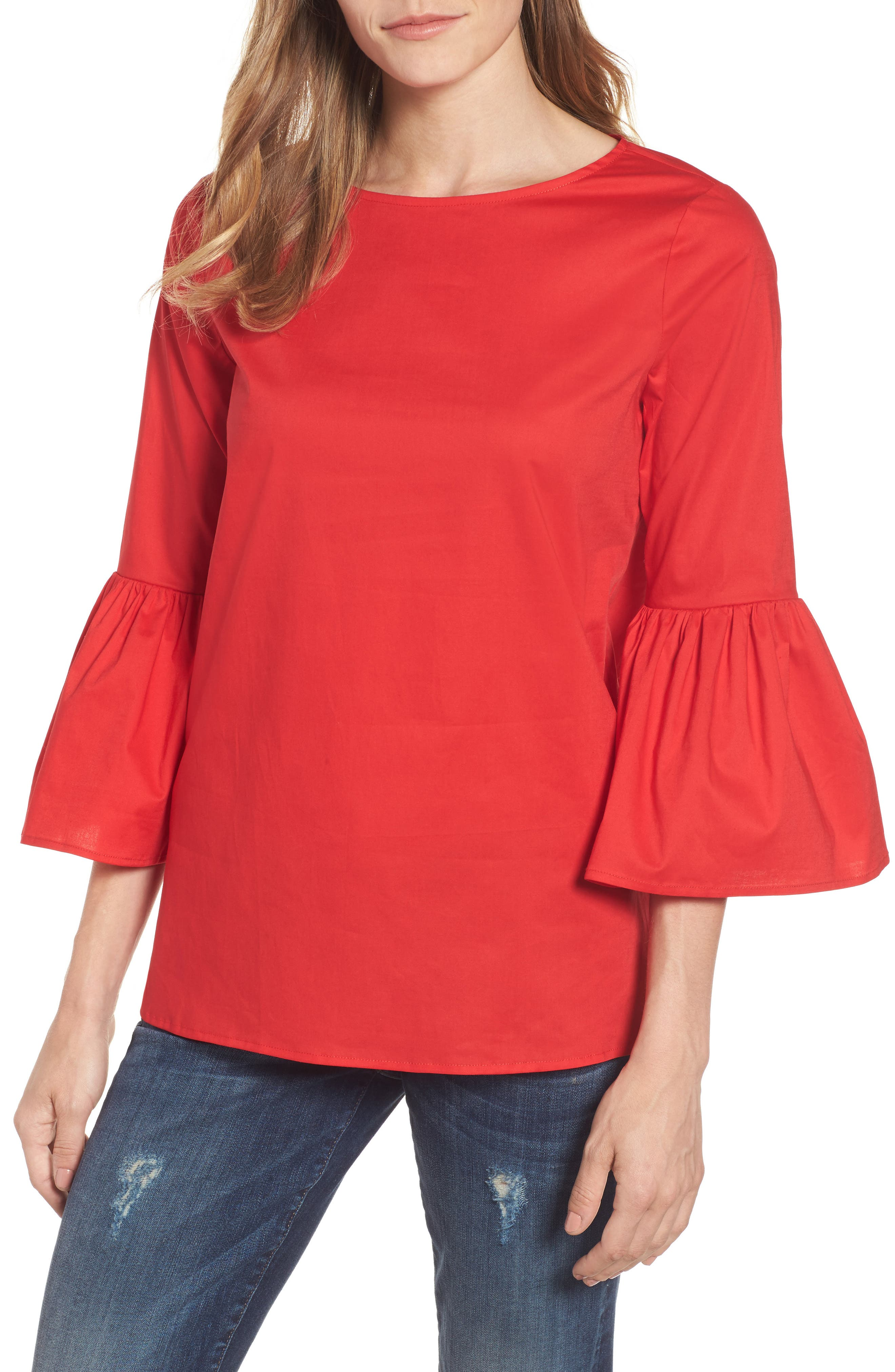 Gibson Bell Sleeve Poplin Top (Regular & Petite)