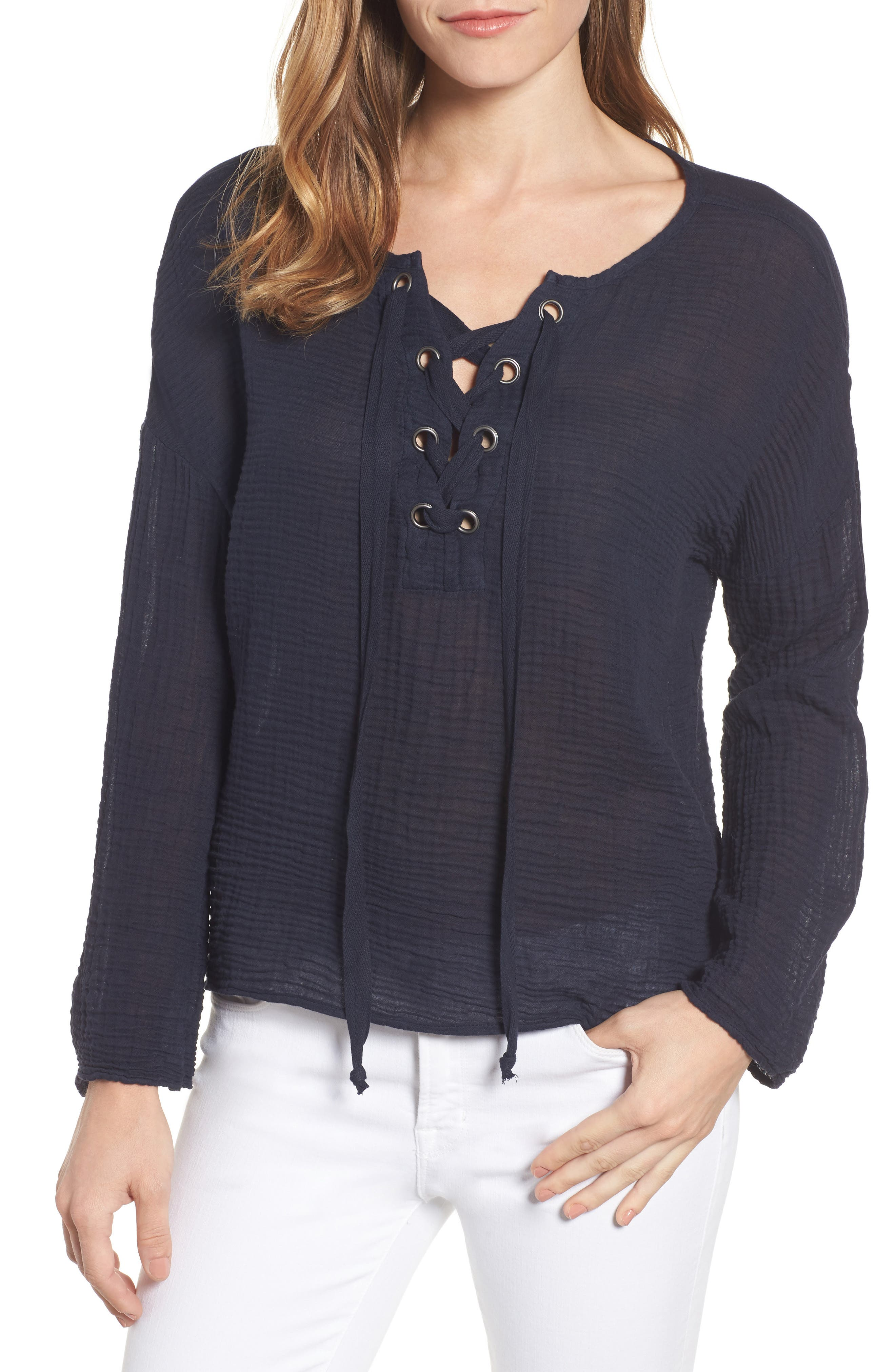 Velvet by Graham & Spencer Lace-Up Gauze Blouse
