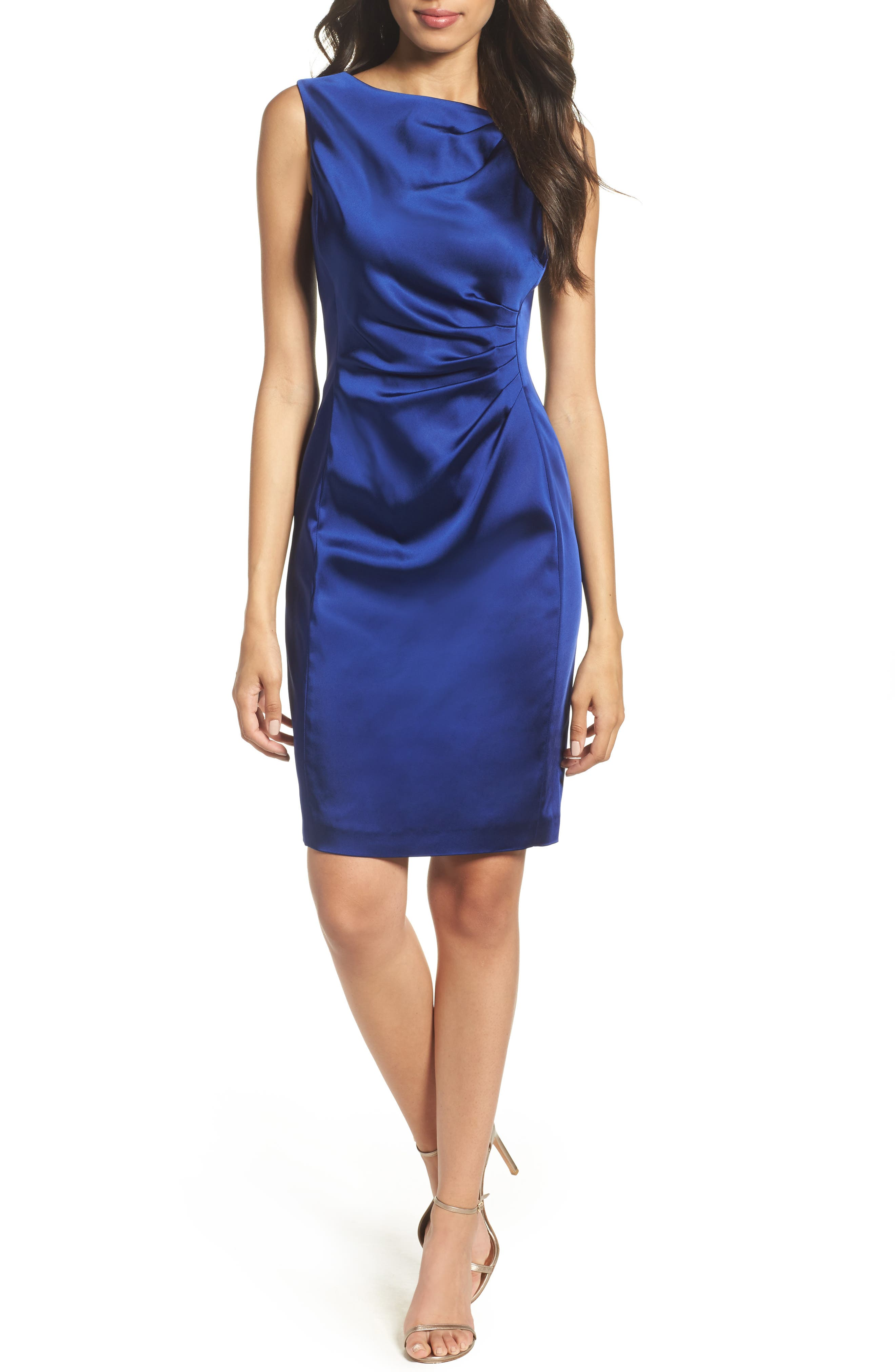 Tahari Stretch Satin Sheath Dress (Petite)