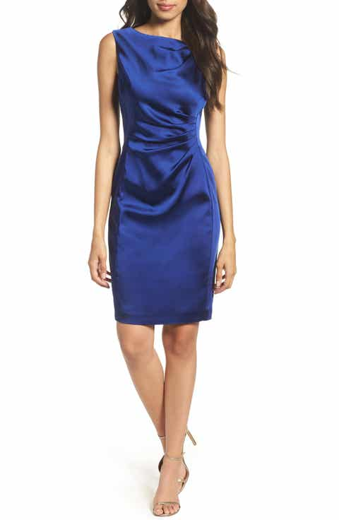Tahari Stretch Satin Sheath Dress Pee