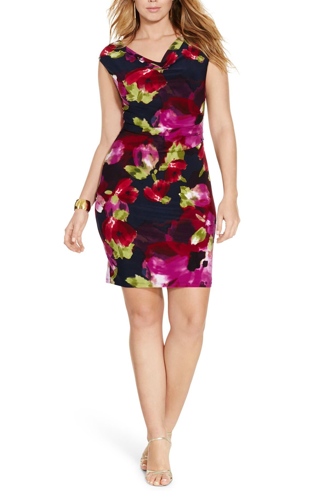 Lauren Ralph Lauren Cowl Neck Jersey Dress (Plus Size)