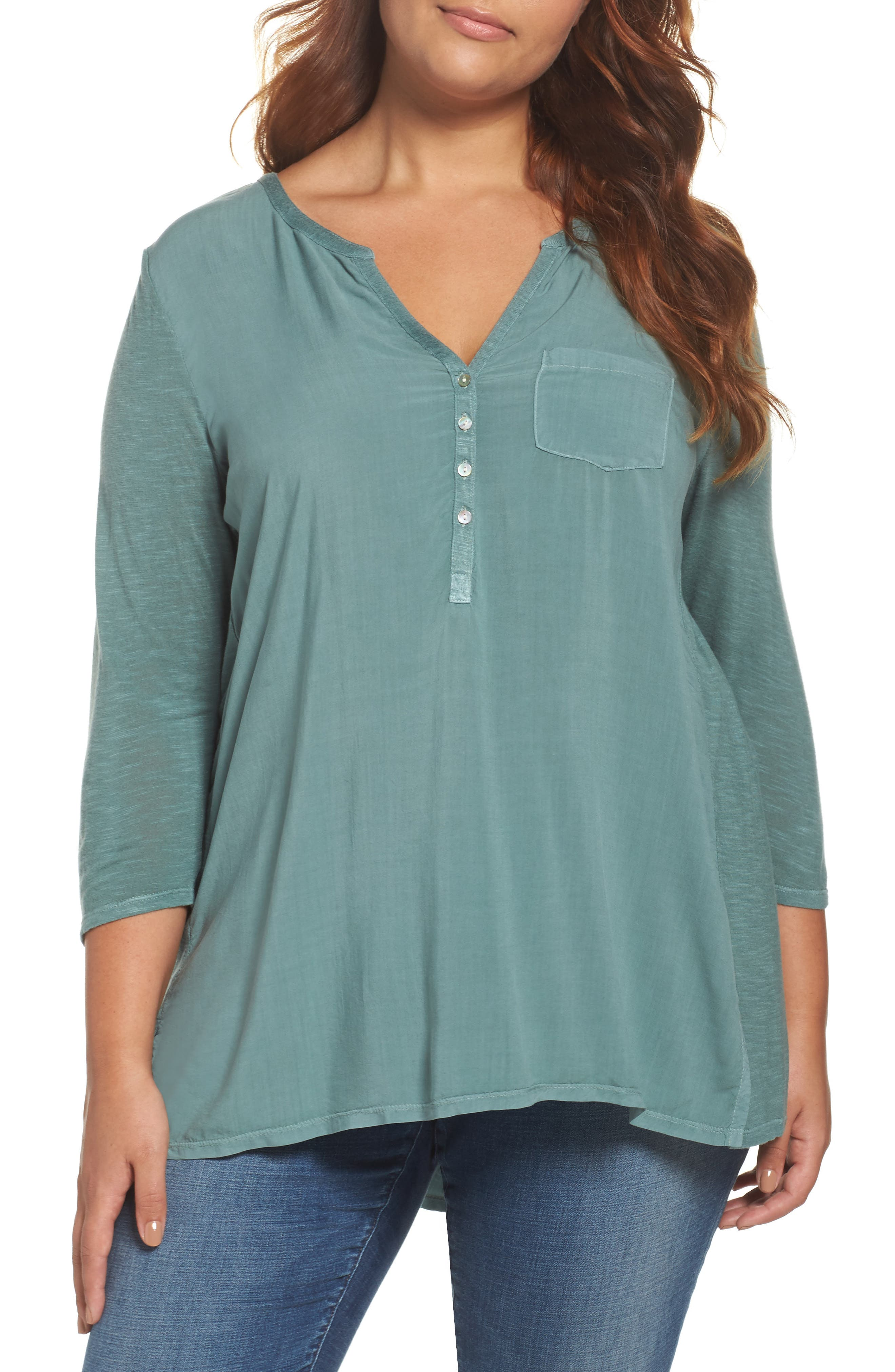 Lucky Brand Mixed Media Top (Plus Size)