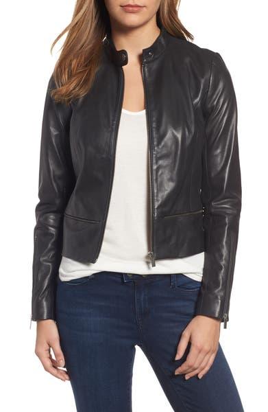 Main Image - Halogen® Zip Detail Leather Moto Jacket (Regular & Petite)