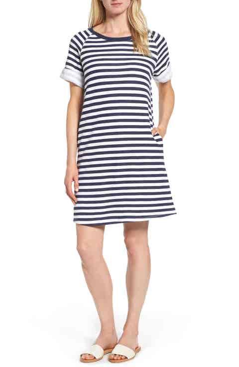 Caslon® French Terry Shift Dress (Regular   Petite)